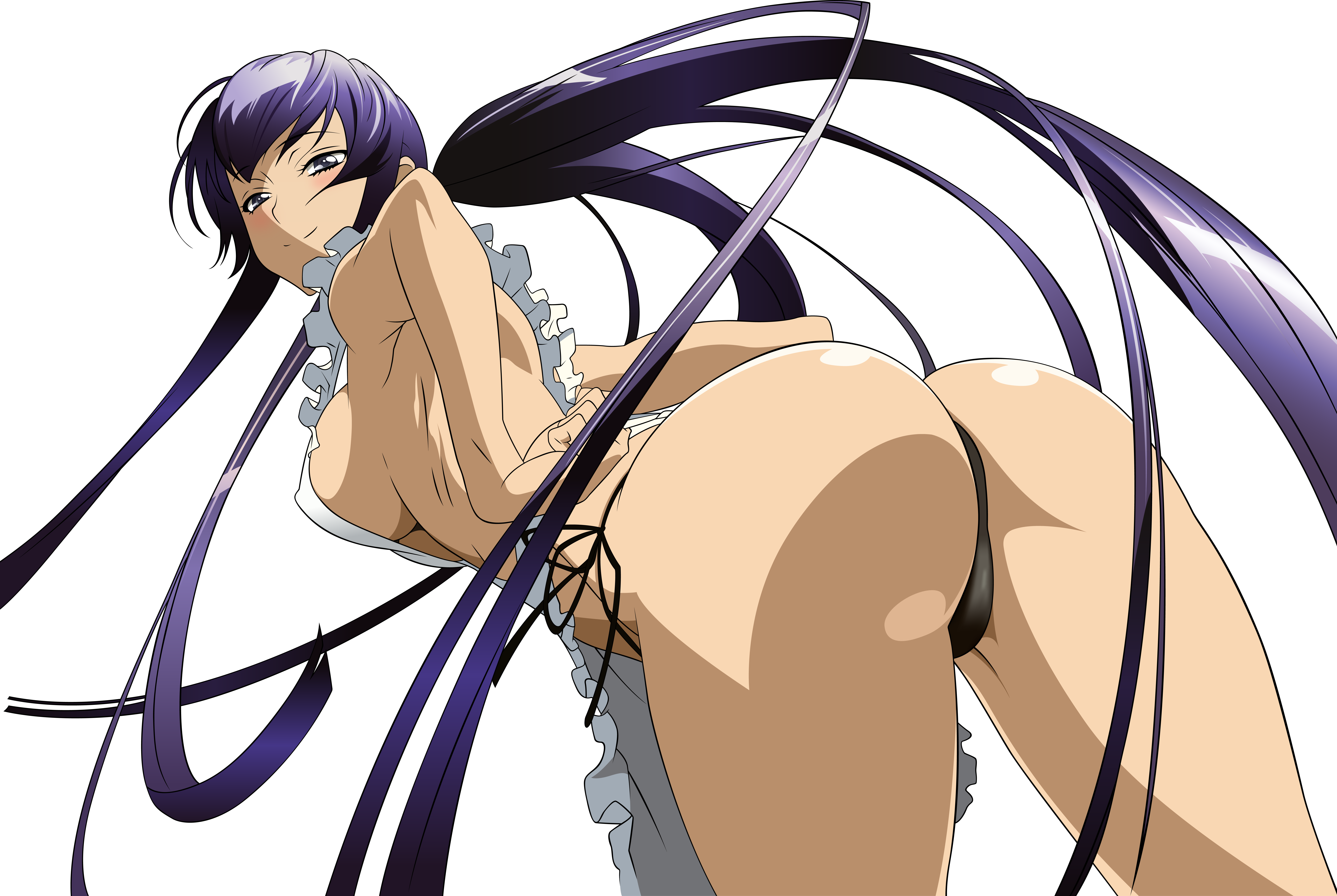 Anime 9167x6145 boobs anime girls anime ass big boobs panties long hair purple hair DeviantArt rear view simple background black background smiling