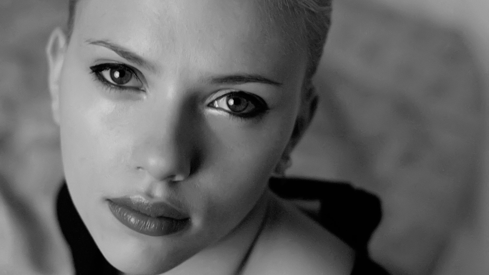 People 1920x1080 Scarlett Johansson women face monochrome actress