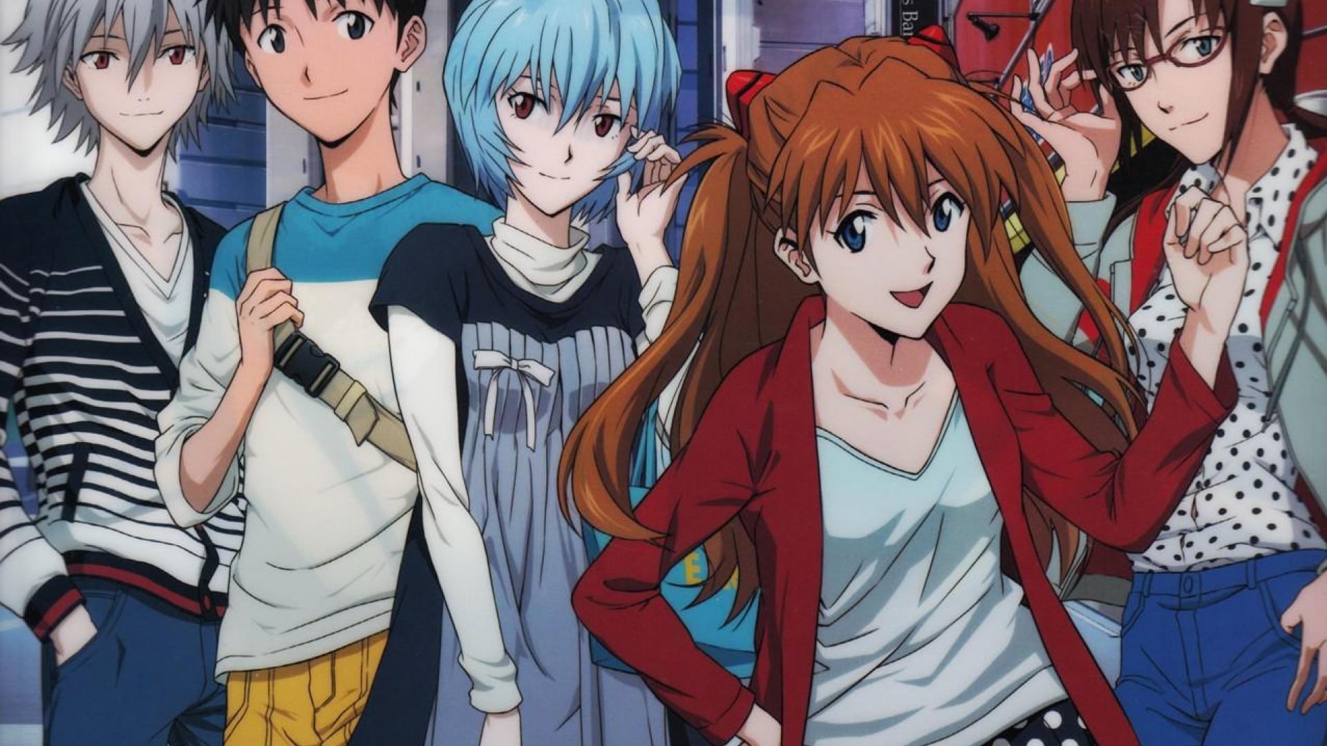 Anime 1920x1080 Neon Genesis Evangelion Asuka Langley Soryu Ayanami Rei Ikari Shinji anime Makinami Mari Illustrious