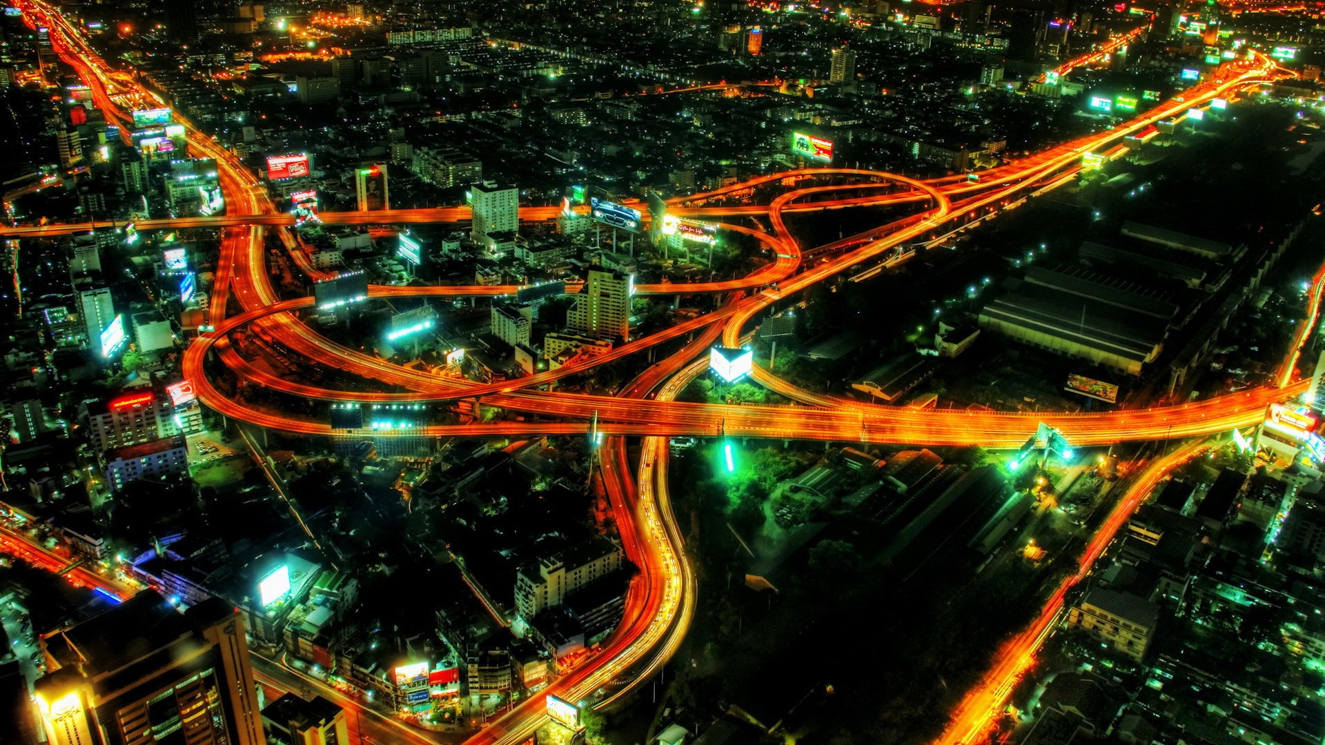 General 1920x1080 city Bangkok traffic highway light trails aerial view