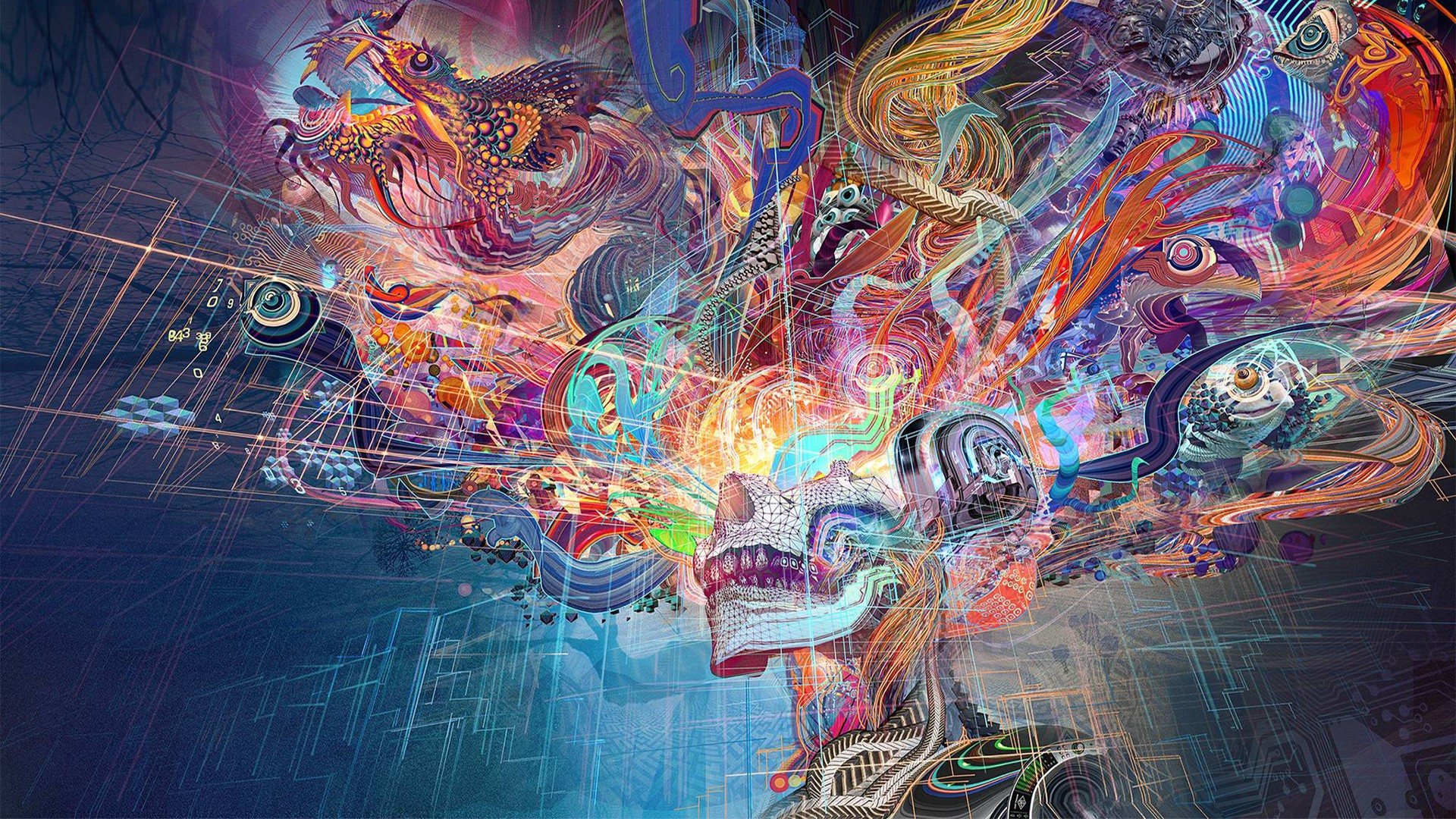 General 1920x1080 fantasy art colorful chinese dragon digital art abstract skull