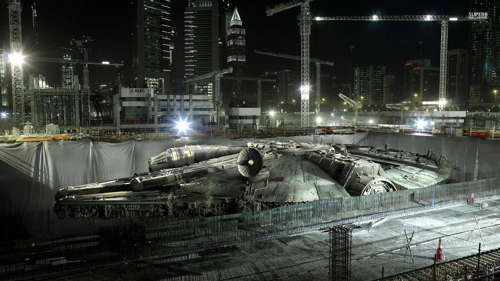 General 1600x900 Star Wars Star Wars Ships digital art cityscape cranes (machine) night construction site Millennium Falcon