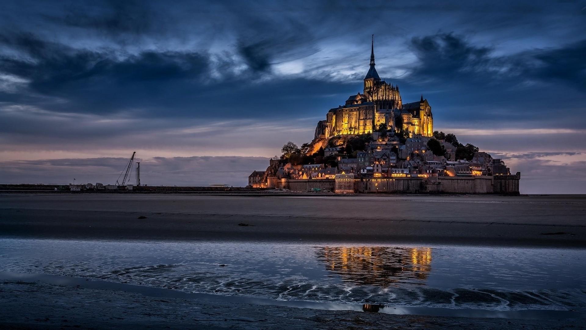 General 1920x1080 Mont Saint-Michel island Abbey city lights fort town night castle