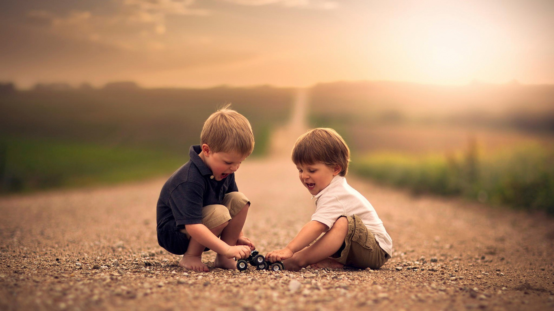 People 1920x1080 children road Jake Olson playing sunlight depth of field toys