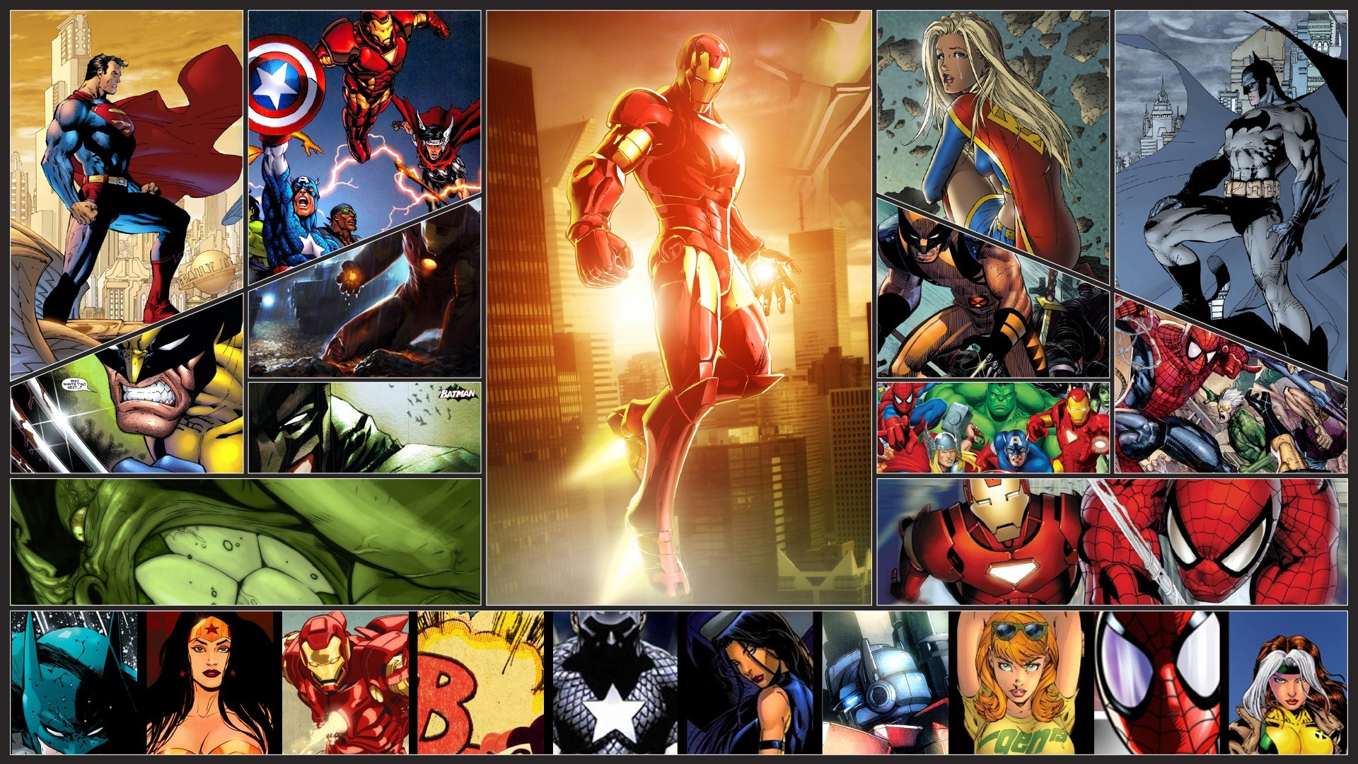 General 1920x1080 Wolverine Spider-Man Captain America Thor Iron Man Marvel Comics Superman Supergirl Batman Wonder Woman Rogue (character) Hulk collage