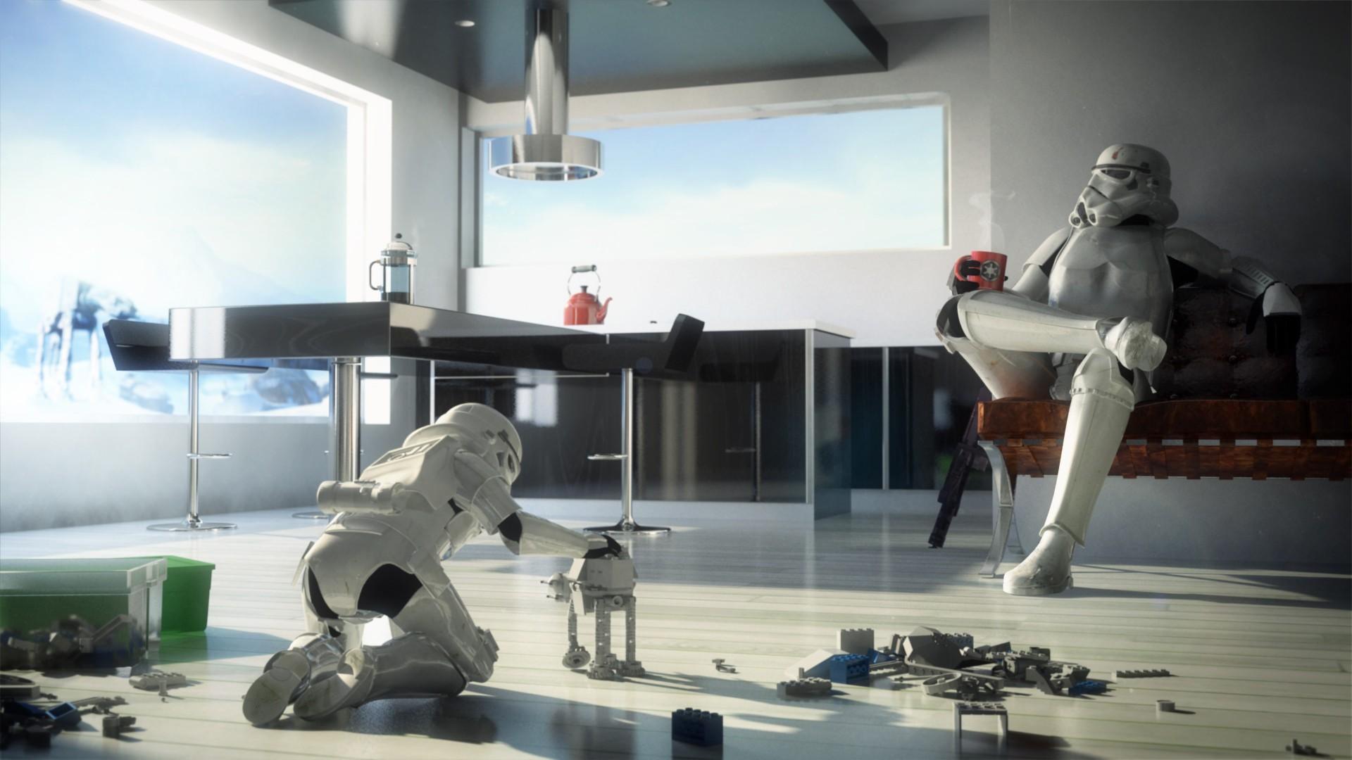 General 1920x1080 Star Wars stormtrooper children humor digital art artwork LEGO toys