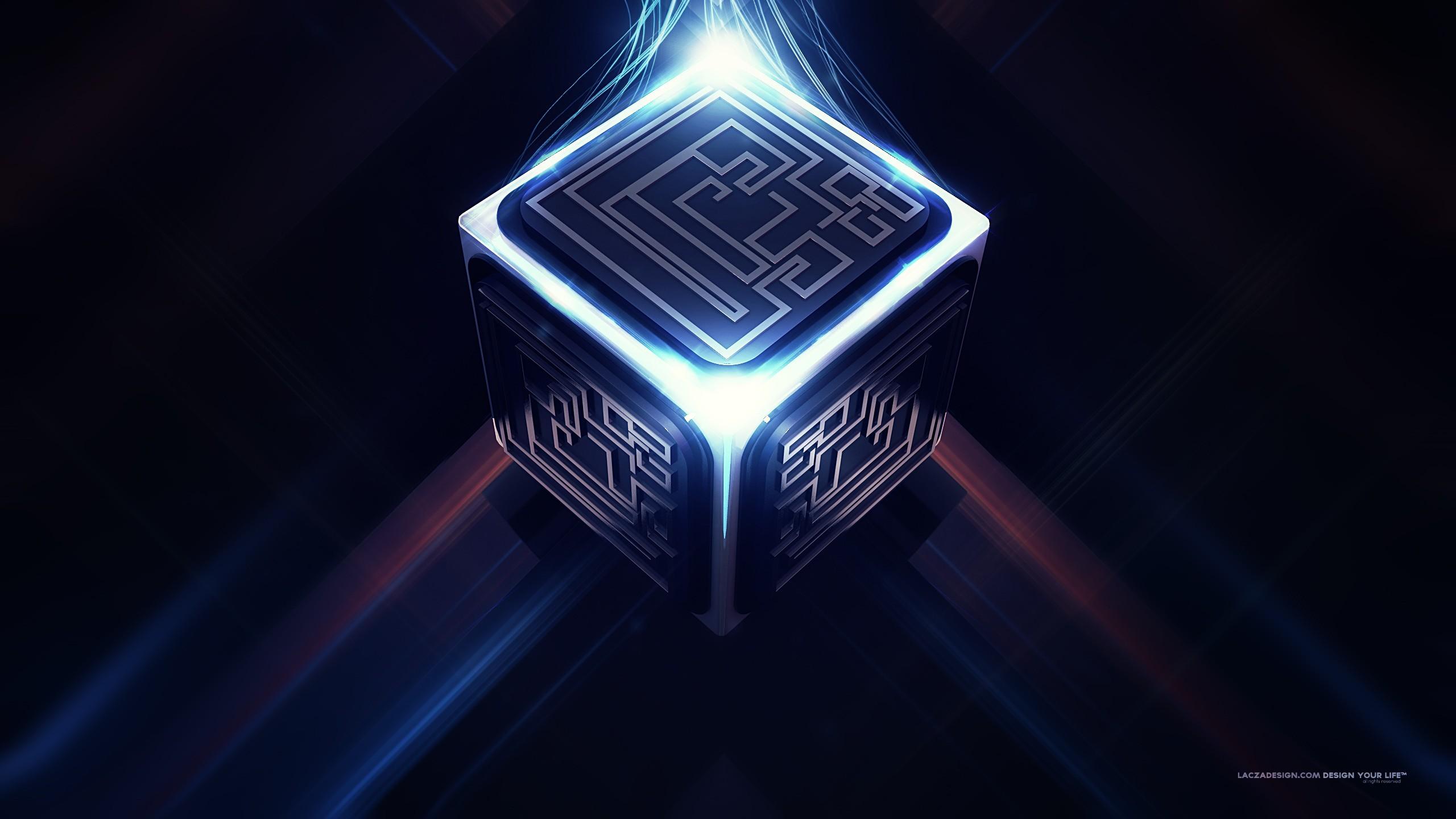 General 2560x1440 futuristic cube artwork Lacza glowing digital art abstract 3D fantasy art science fiction pattern artificial lights render CGI 3D Abstract 3D Blocks