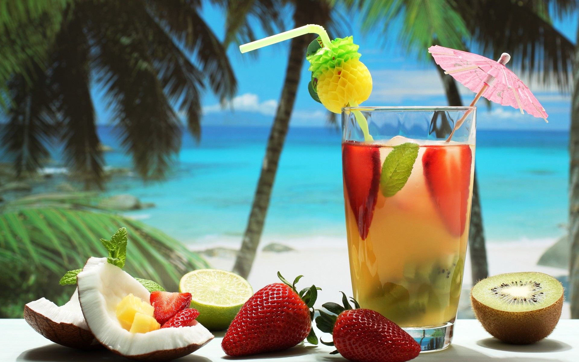 General 1920x1200 cocktails drink fruit coconuts strawberries kiwi (fruit) trees tropical