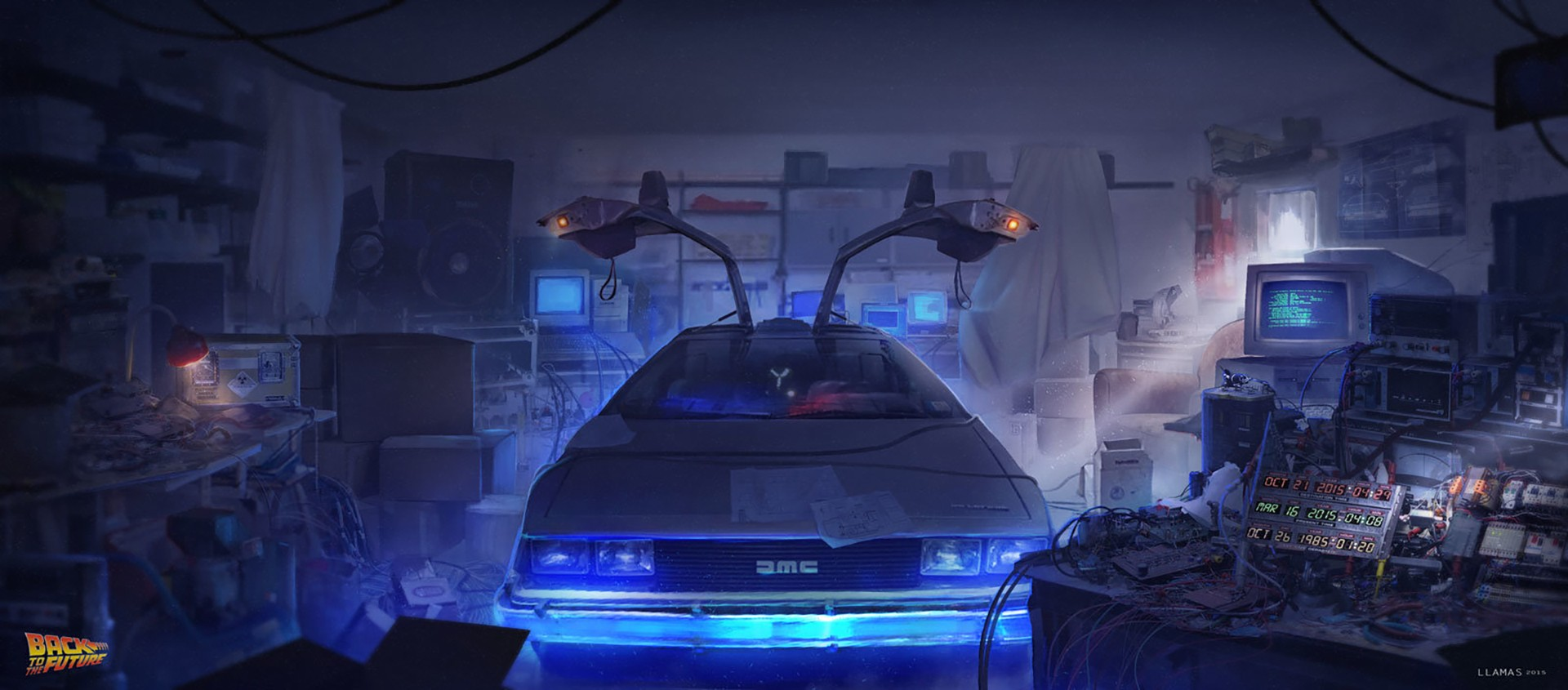 General 1920x845 digital art DeLorean time travel Back to the Future
