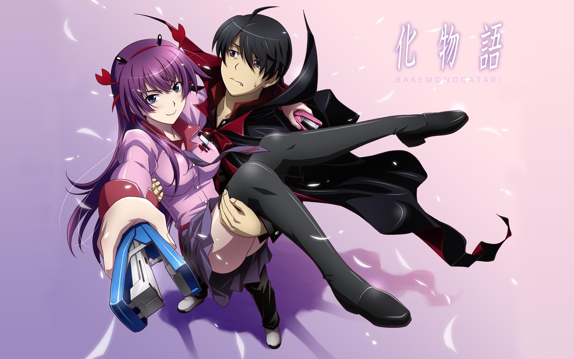 Anime 1920x1200 anime Monogatari Series Senjougahara Hitagi Araragi Koyomi thigh-highs