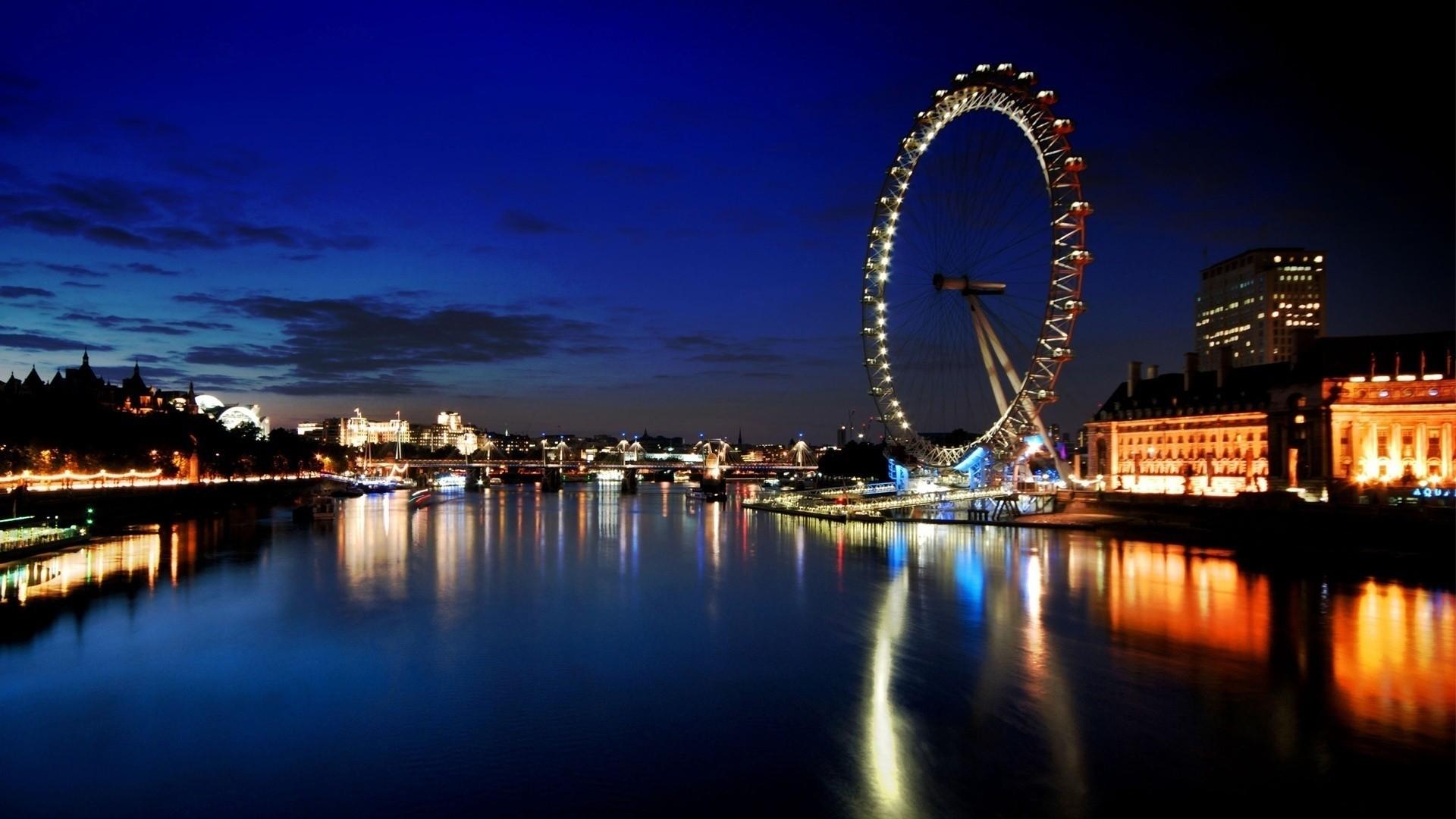 General 1920x1080 cityscape reflection river London Eye River Thames UK London water night lights