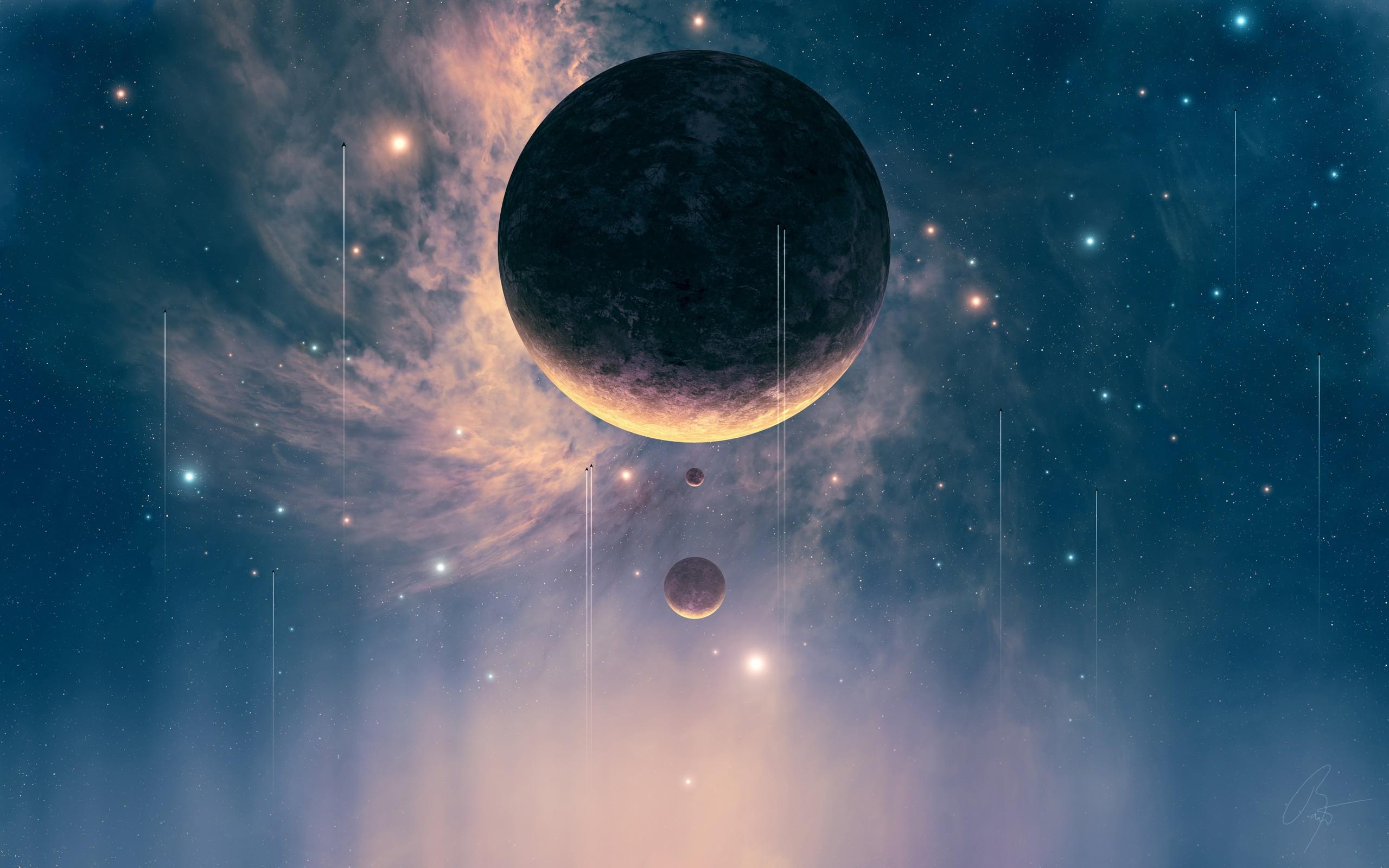 General 2560x1600 universe falling planet digital art space space art science fiction futuristic artwork JoeyJazz