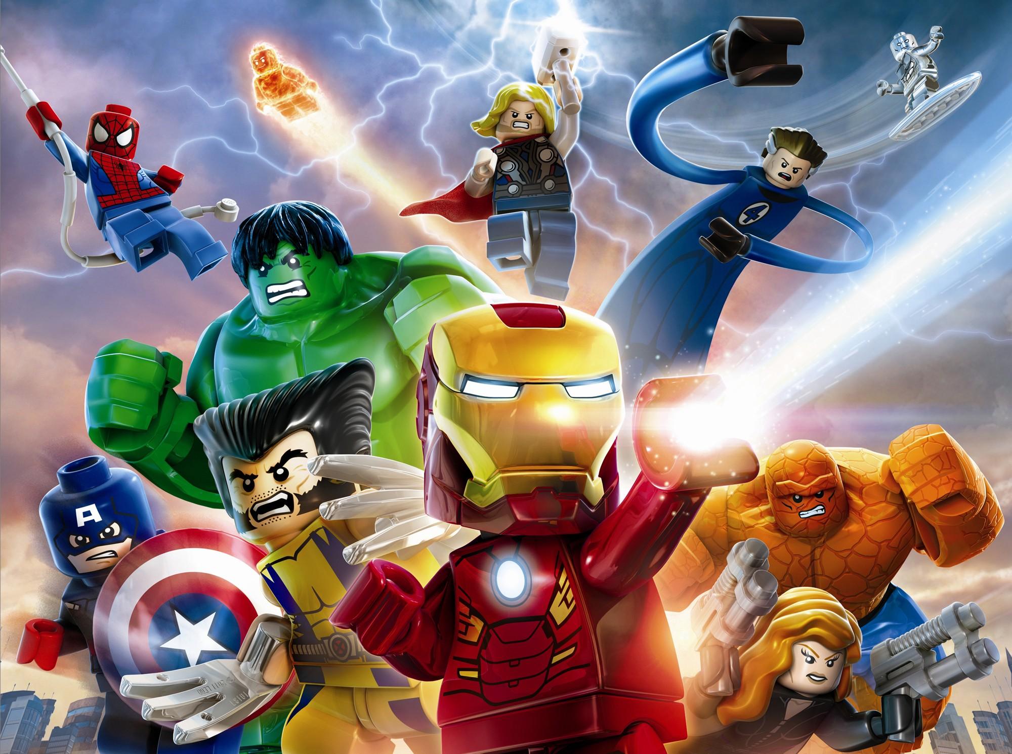 General 2000x1490 LEGO Marvel Super Heroes The Avengers Iron Man Hulk Captain America Fantastic Four Black Widow Thor Spider-Man Wolverine Marvel Heroes Marvel Comics video games