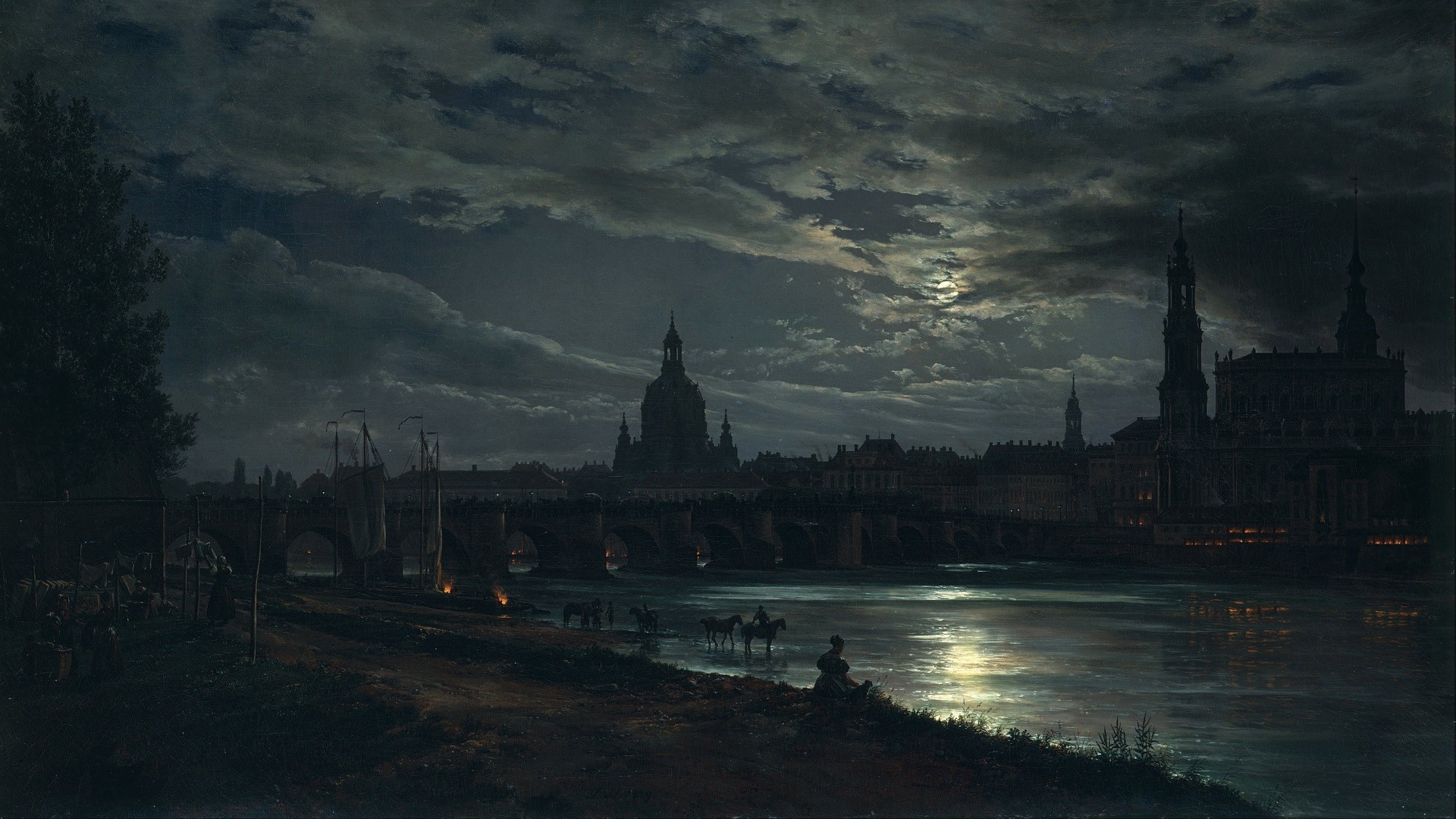 General 1920x1080 dark night river bridge arch artwork classic art painting Dresden Germany cityscape city Moon cathedral reflection moonlight clouds