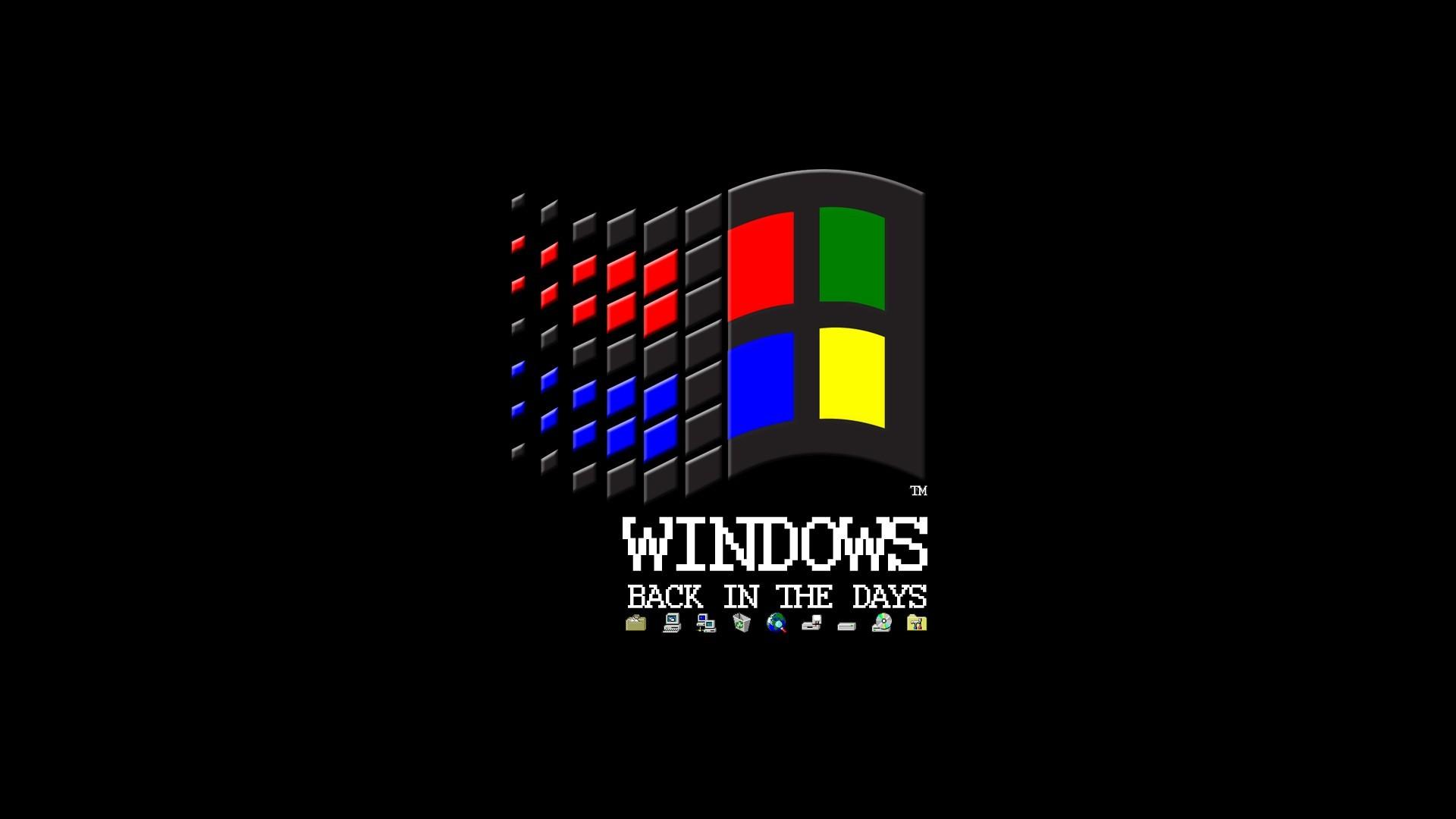 General 1920x1080 Microsoft Windows logo black background floppy disk MS-DOS internet