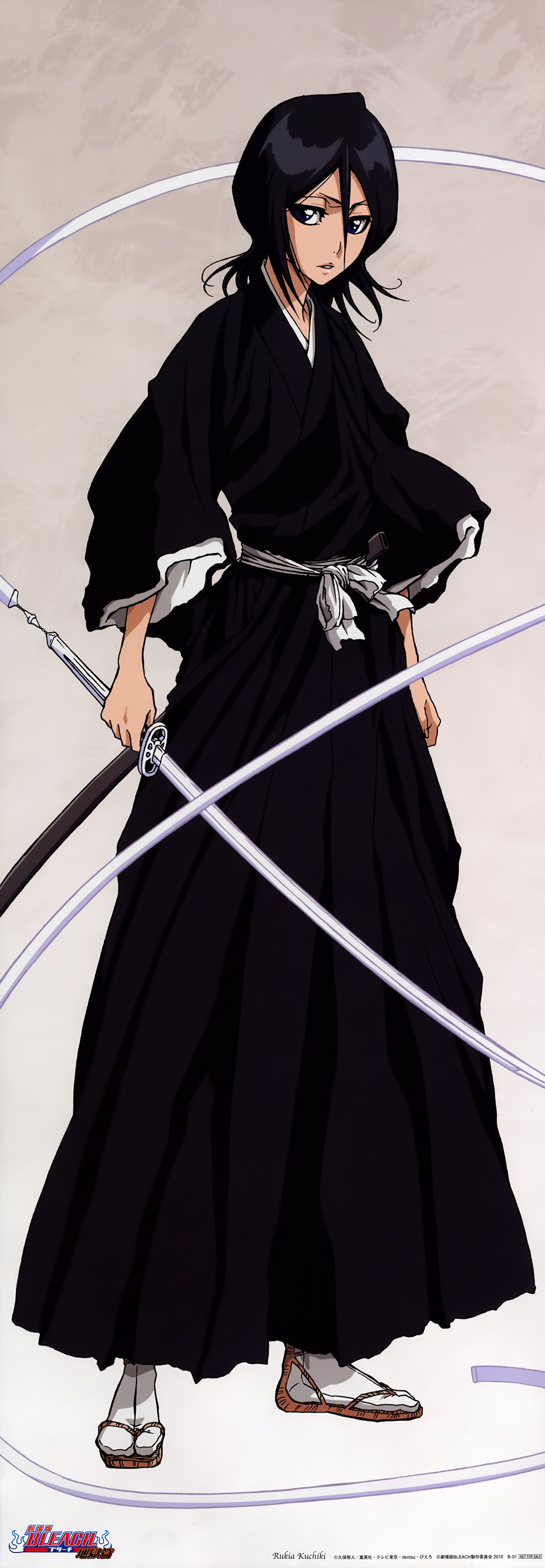 Anime 1780x5118 Bleach Kuchiki Rukia anime girls women with swords anime dark hair