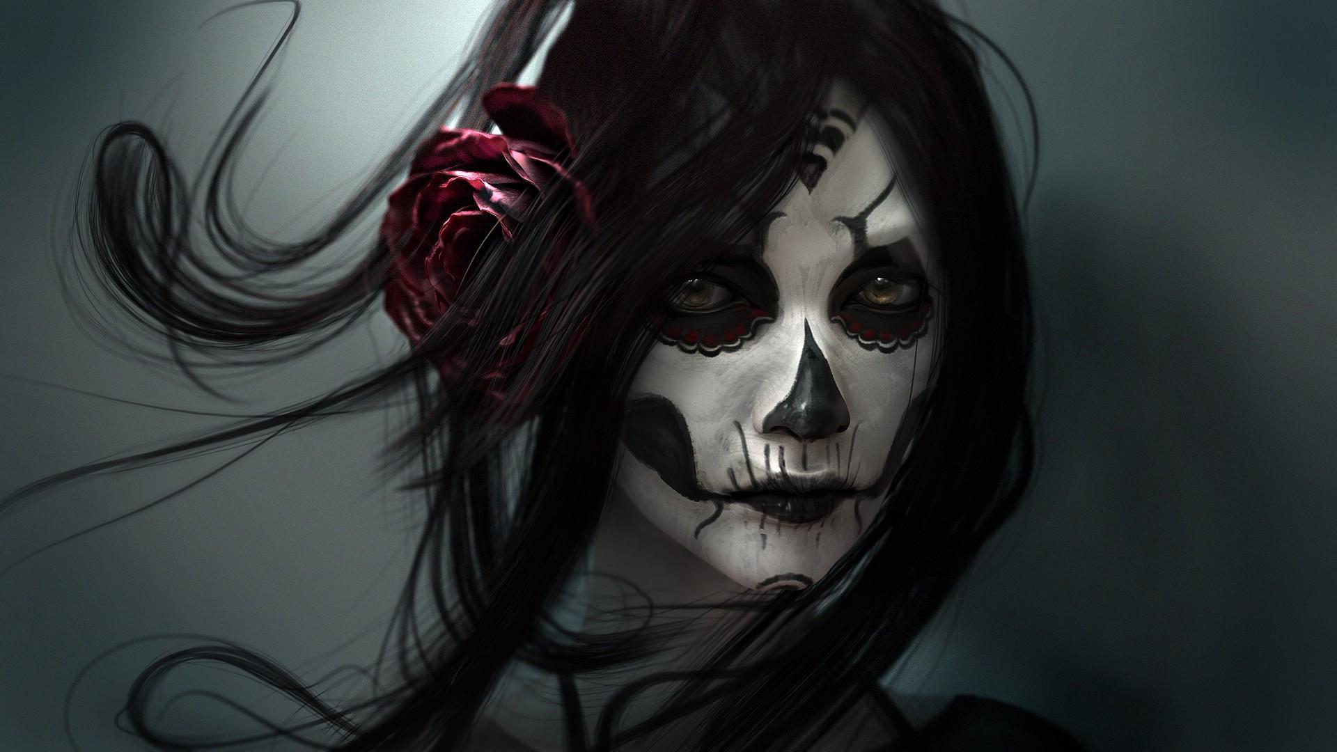 General 1920x1080 digital art face artwork rose dark hair looking at viewer skull women face paint Sugar Skull fantasy art Dia de los Muertos Wen-JR fantasy girl