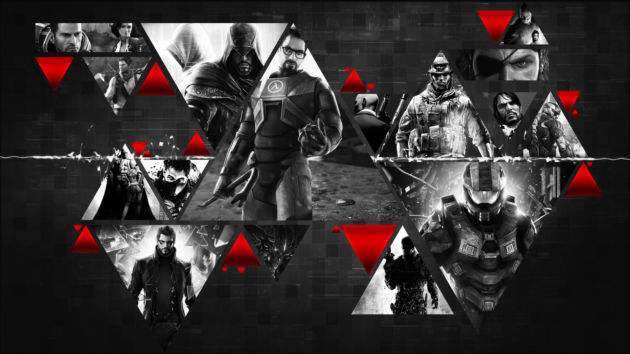 General 2560x1440 Batman: Arkham City Half-Life Assassin's Creed: Revelations Halo Red Dead Redemption Hitman Call of Duty Metal Gear Solid  Crysis video games Deus Ex: Human Revolution Star Wars Diablo III Mass Effect 2 Assassin's Creed artwork collage masterchief Master Chief Batman: Arkham Asylum Mass Effect Crysis 3 Metal Gear Solid: Peace Walker Uncharted 3: Drake's Deception Battlefield 3 video game art