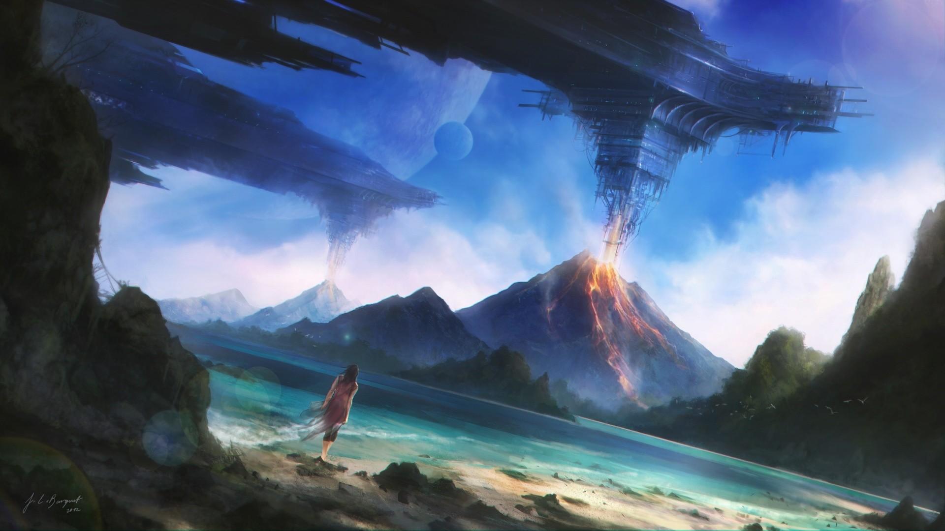 General 1920x1080 women fantasy art spaceship mountains sky planet
