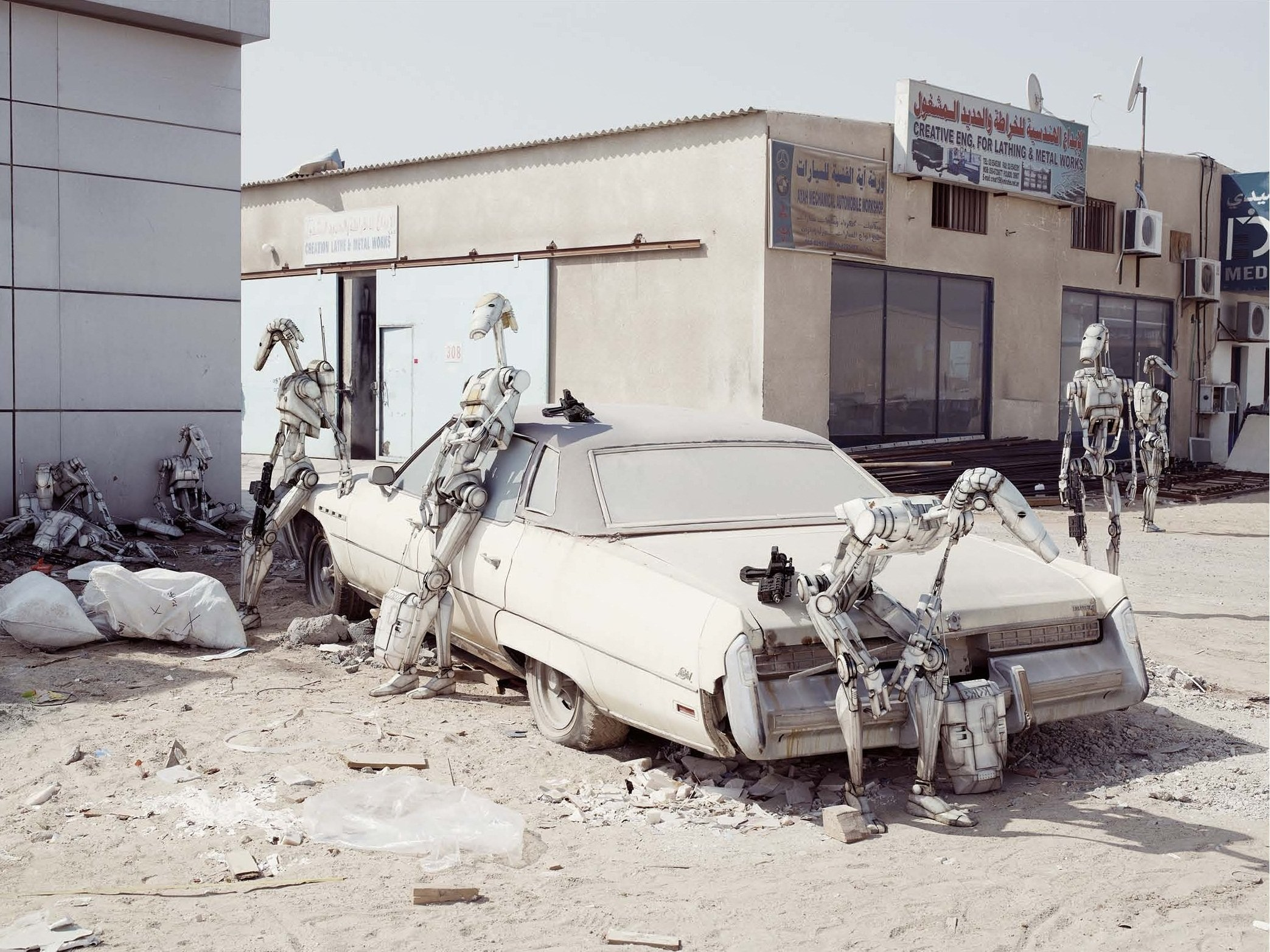 General 2087x1565 robot old car Dubai photo manipulation Star Wars Star Wars Droids Trade Federation (Star Wars) car wreck urban