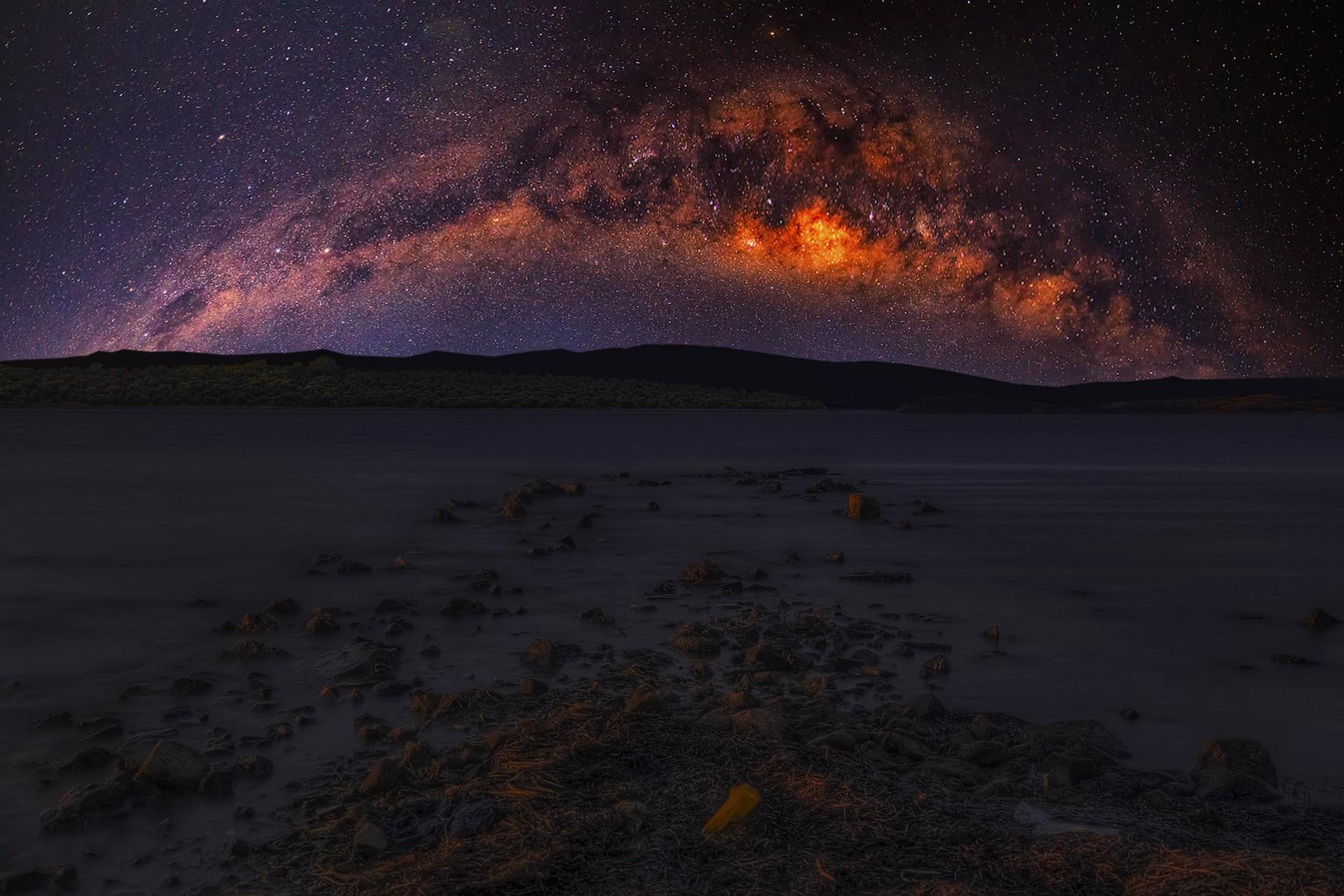 General 1938x1292 landscape Milky Way skyscape stars starry night photomontage