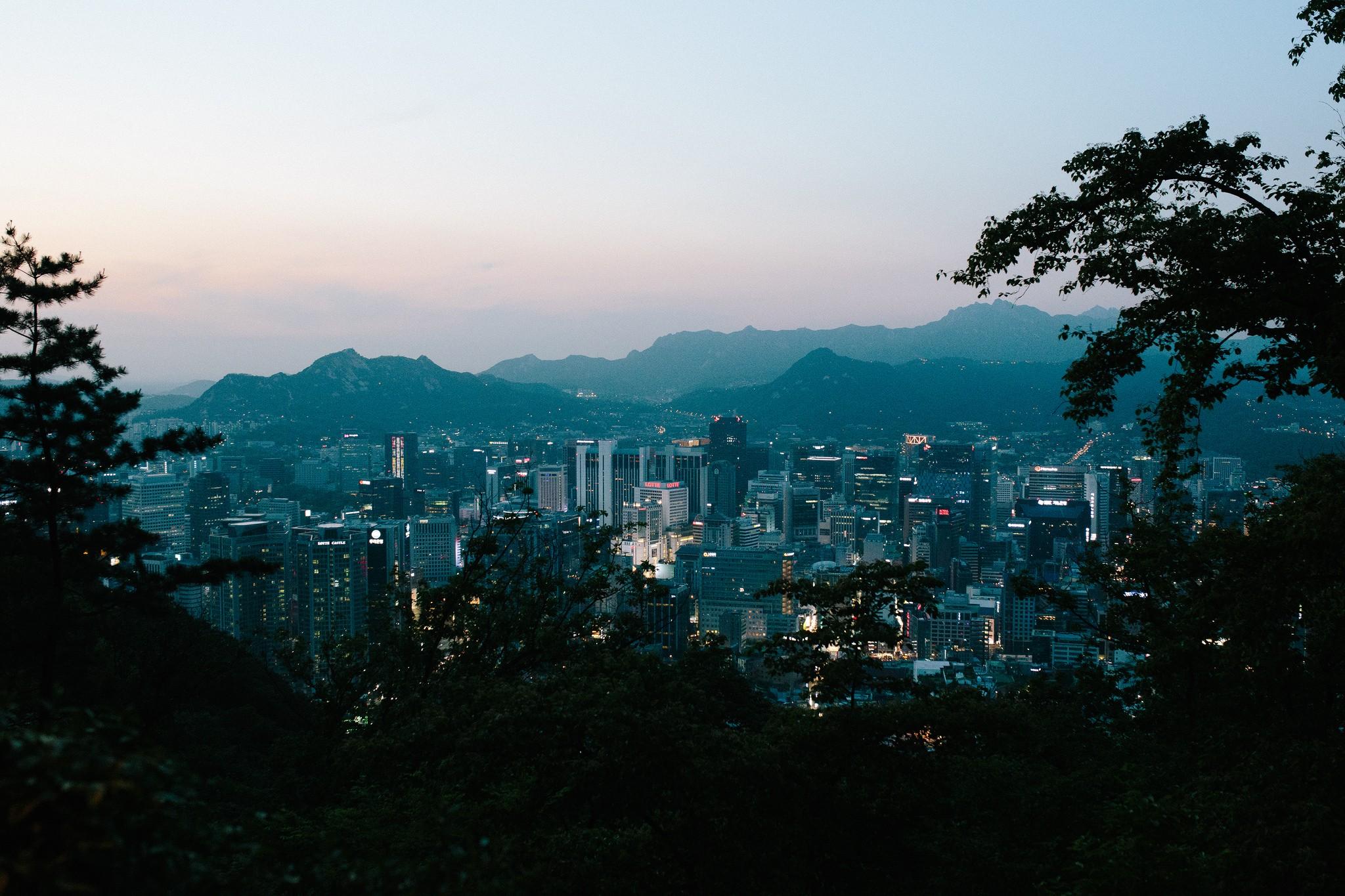 General 2048x1365 dusk city cityscape Seoul mountains