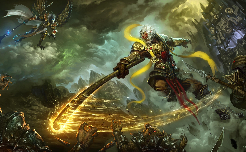 General 2880x1775 artwork fantasy art warrior weapon Battles battle red eyes