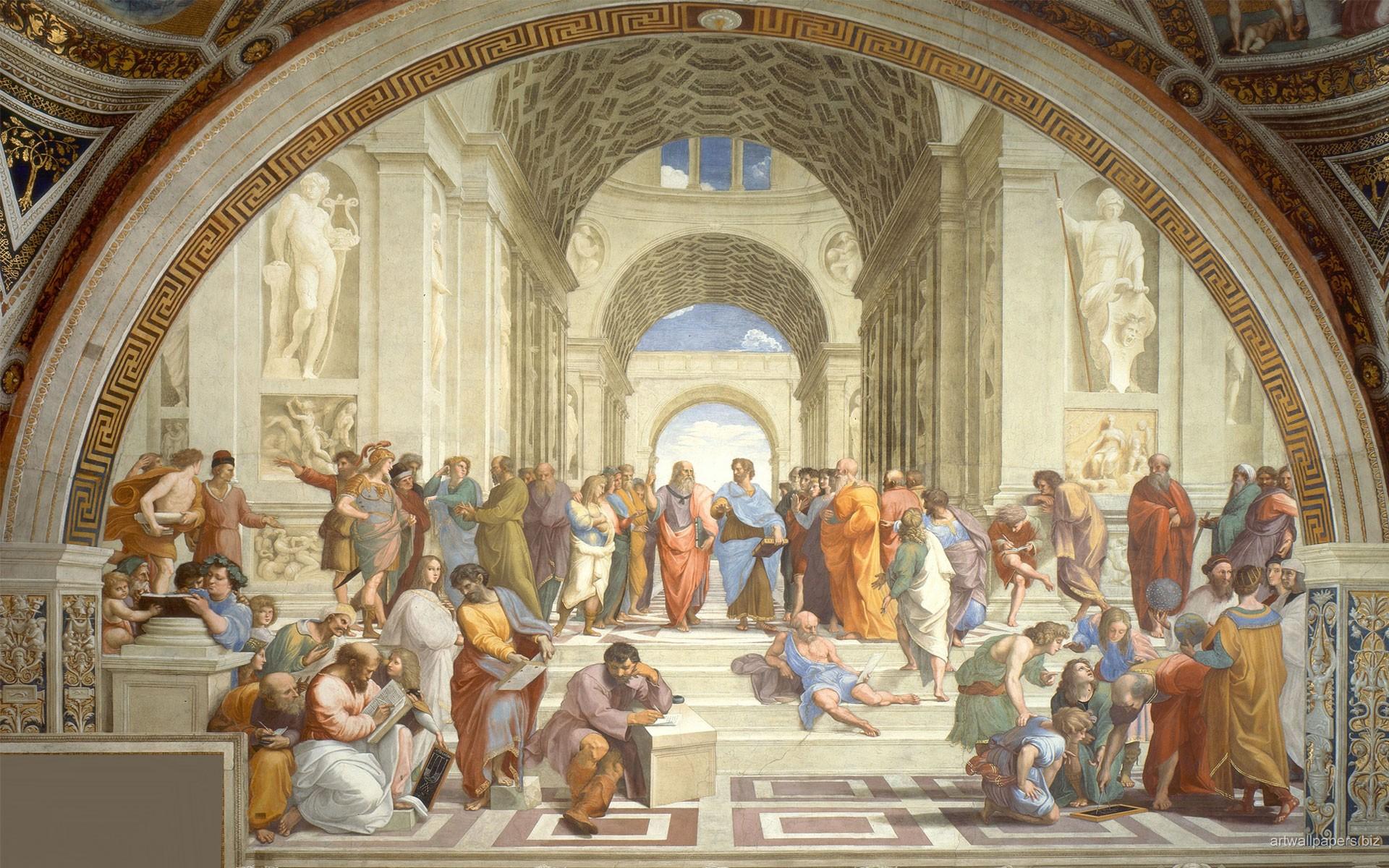 General 1920x1200 Raphael Athens philosophy arch school architecture painting students steps classic art Socrates Greek philosophers plato