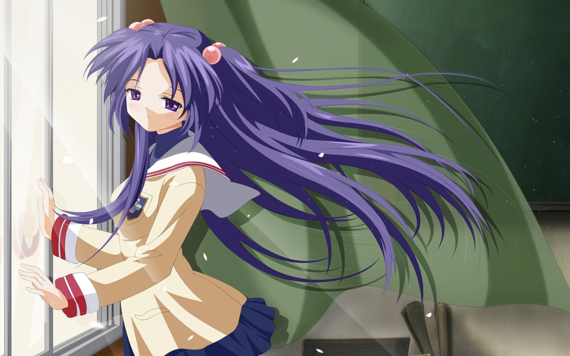 Anime 1920x1200 anime girls anime Clannad Ichinose Kotomi purple hair purple eyes Open Windows long hair windy women indoors