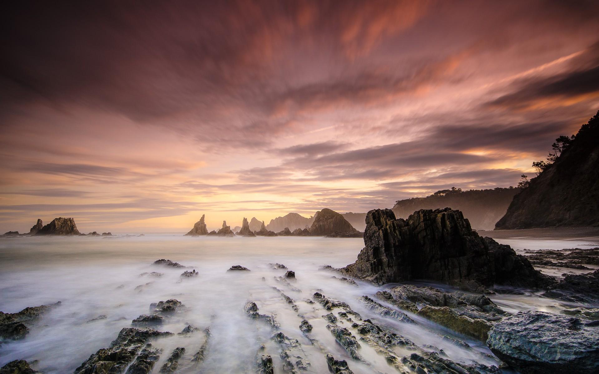 General 1920x1200 landscape rock mist sea sky sunlight nature