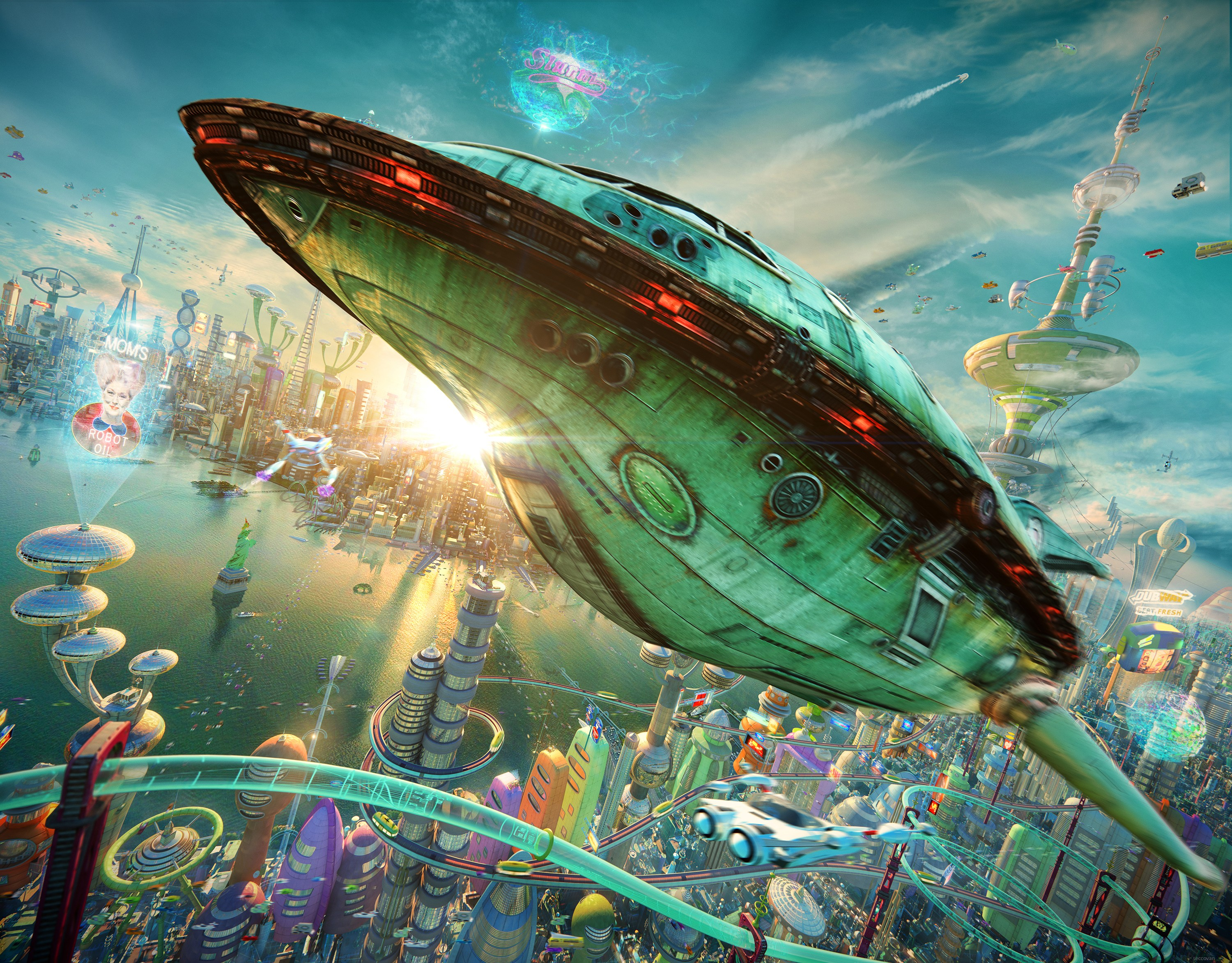 General 3000x2344 Futurama realistic 3D planet express spaceship futuristic city