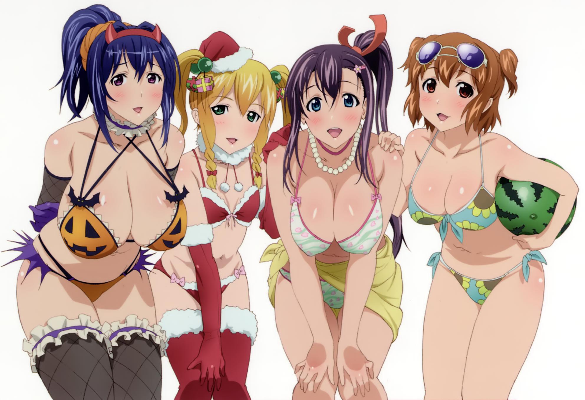 Anime 1985x1358 anime girls big boobs Maken-ki! Amaya Haruko Himegami Kodama Kushiya Inaho Nijou Aki