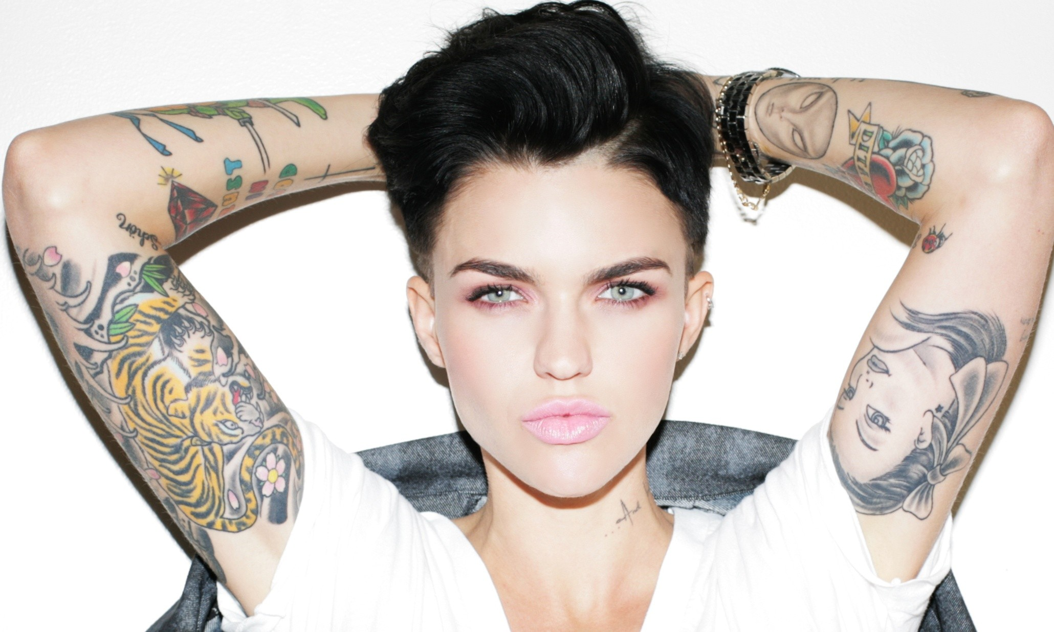 People 2060x1236 Ruby Rose (actress) tattoo arms up short hair ruby rose