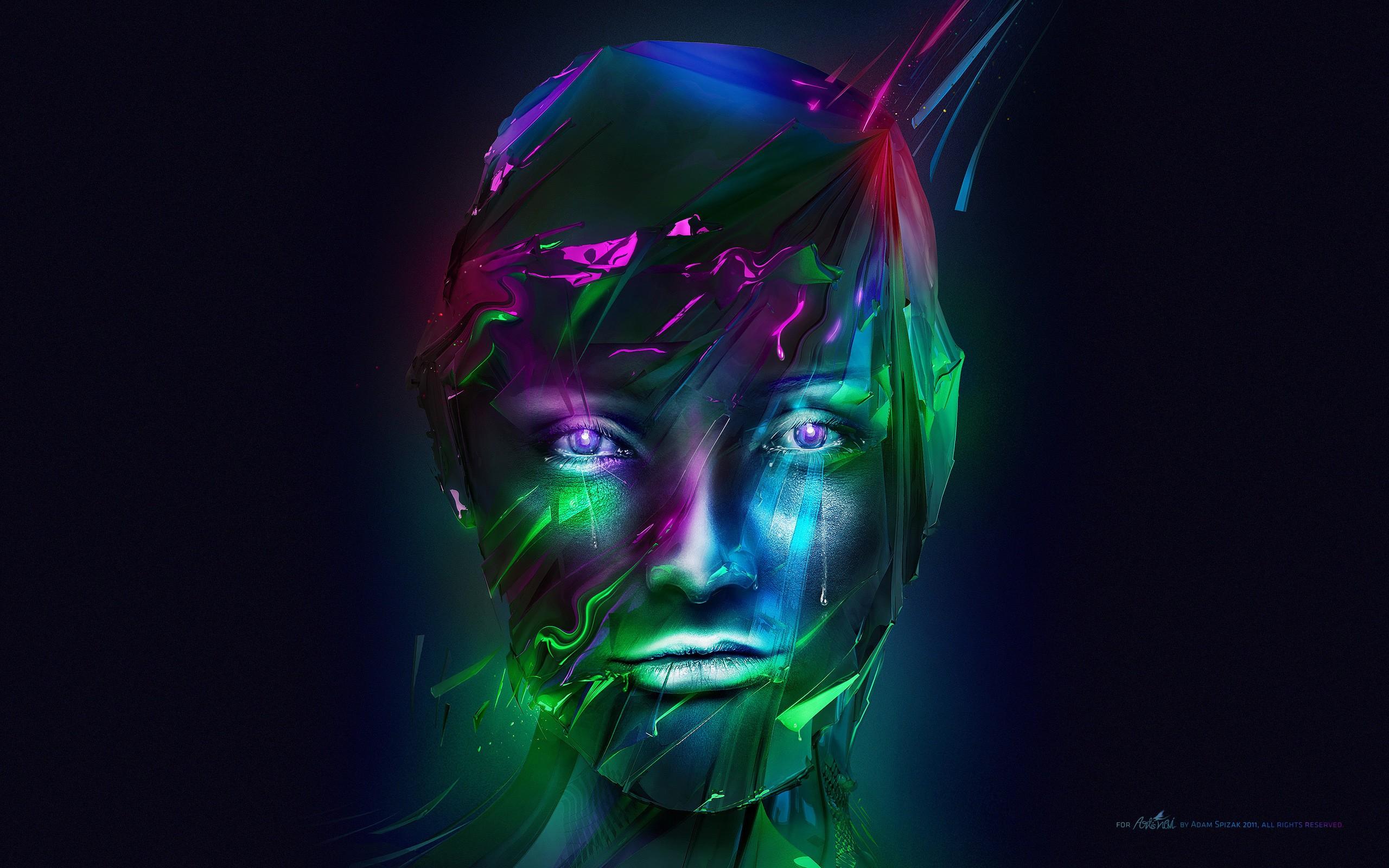 General 2560x1600 face digital art Adam Spizak abstract