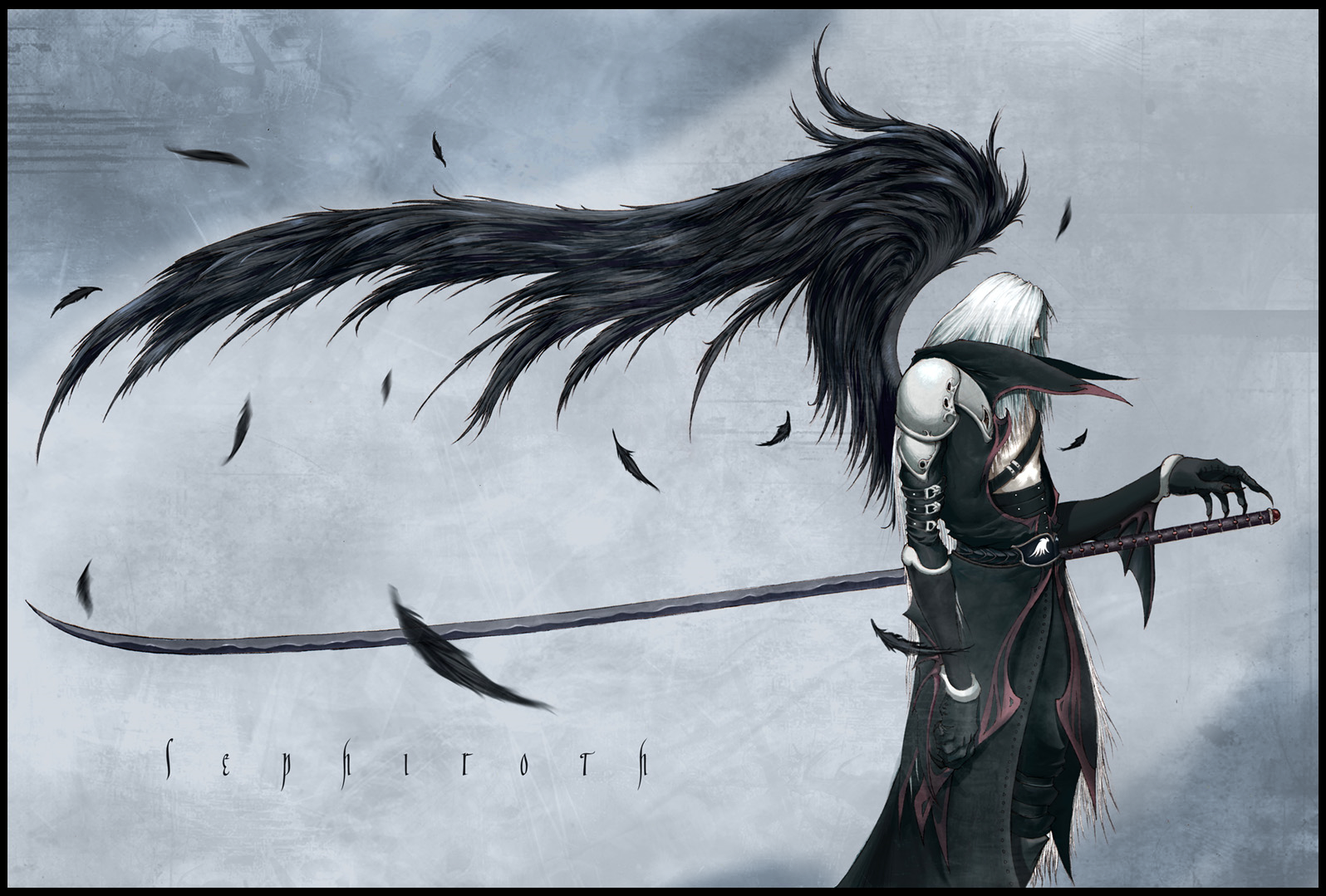 General 1596x1079 Final Fantasy VII Sephiroth katana katana wings iPhone