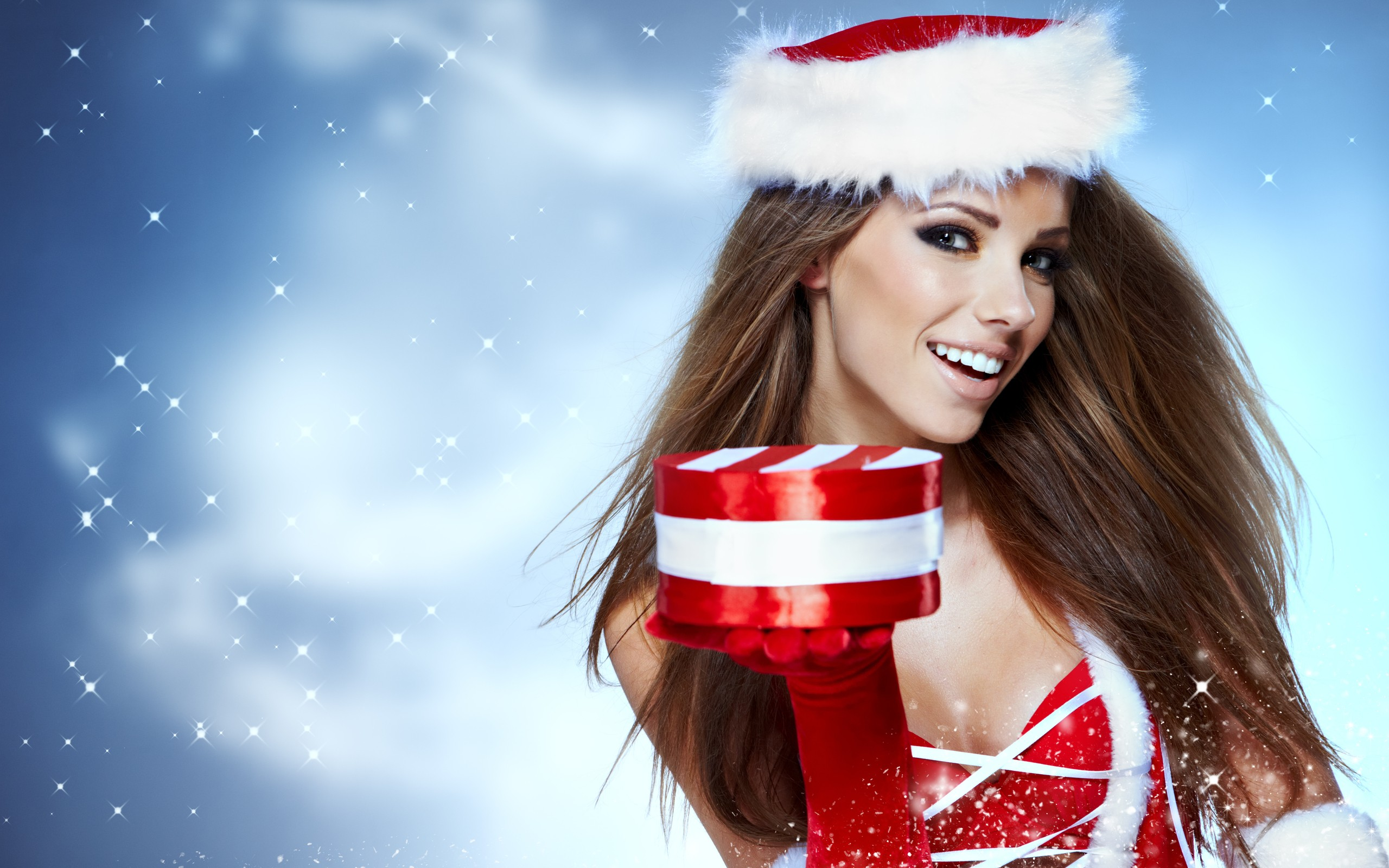 People 2560x1600 Santa girl Santa hats Santa costume smiling brunette long hair model women looking at viewer simple background Izabela Magier