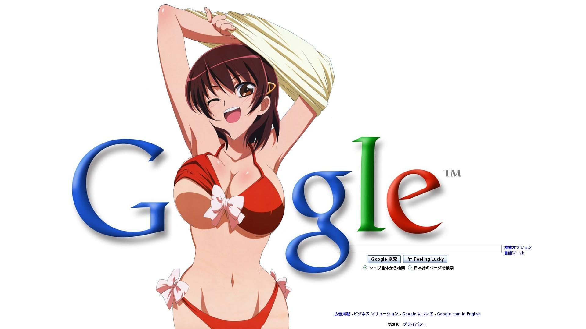 Anime 1920x1080 anime girls swimwear bikini Google Kamen no Maid Guy boobs big boobs huge breasts open mouth belly one eye closed 2010 (Year) arms up armpits brown eyes brunette