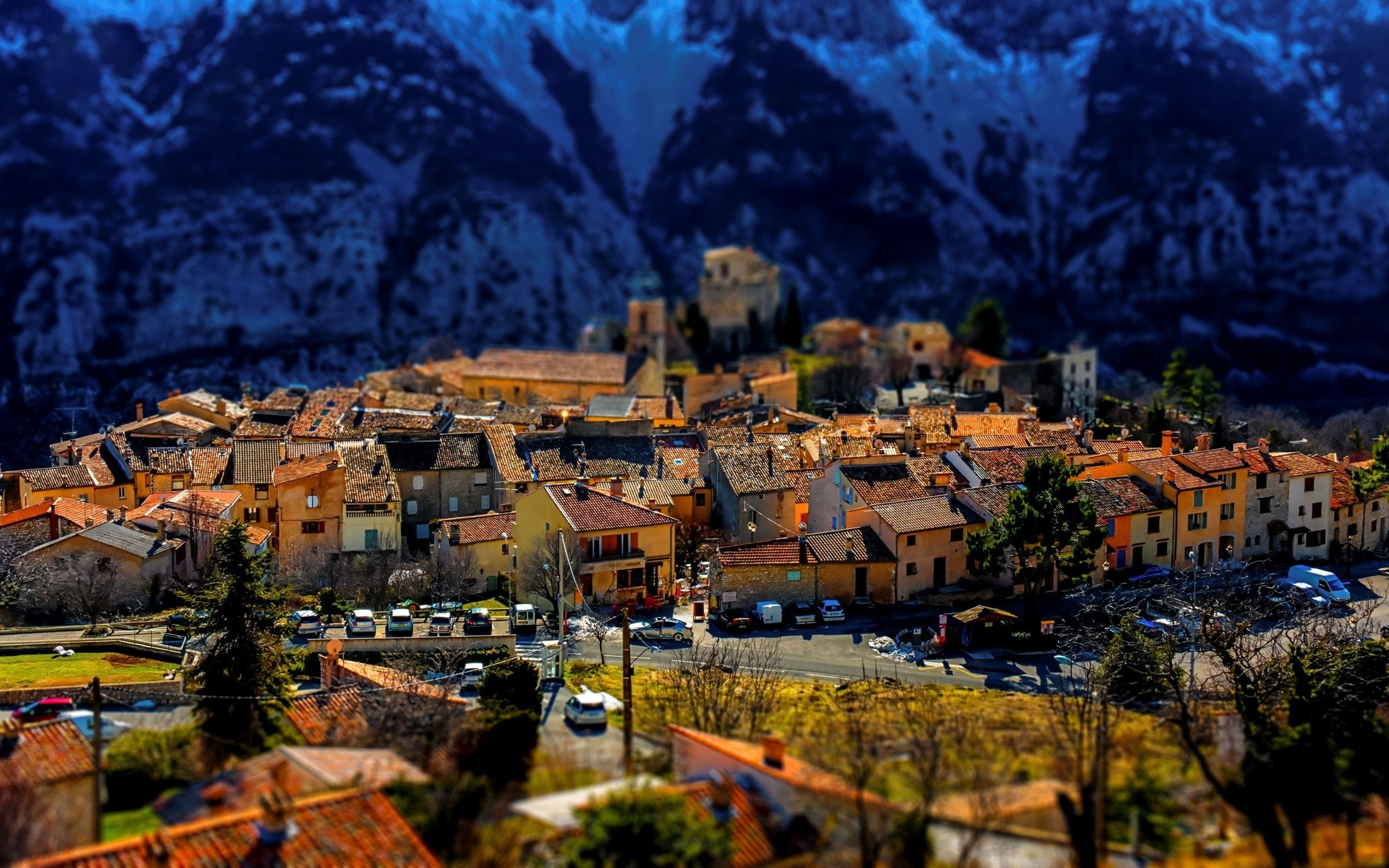 General 2200x1375 tilt shift village cityscape