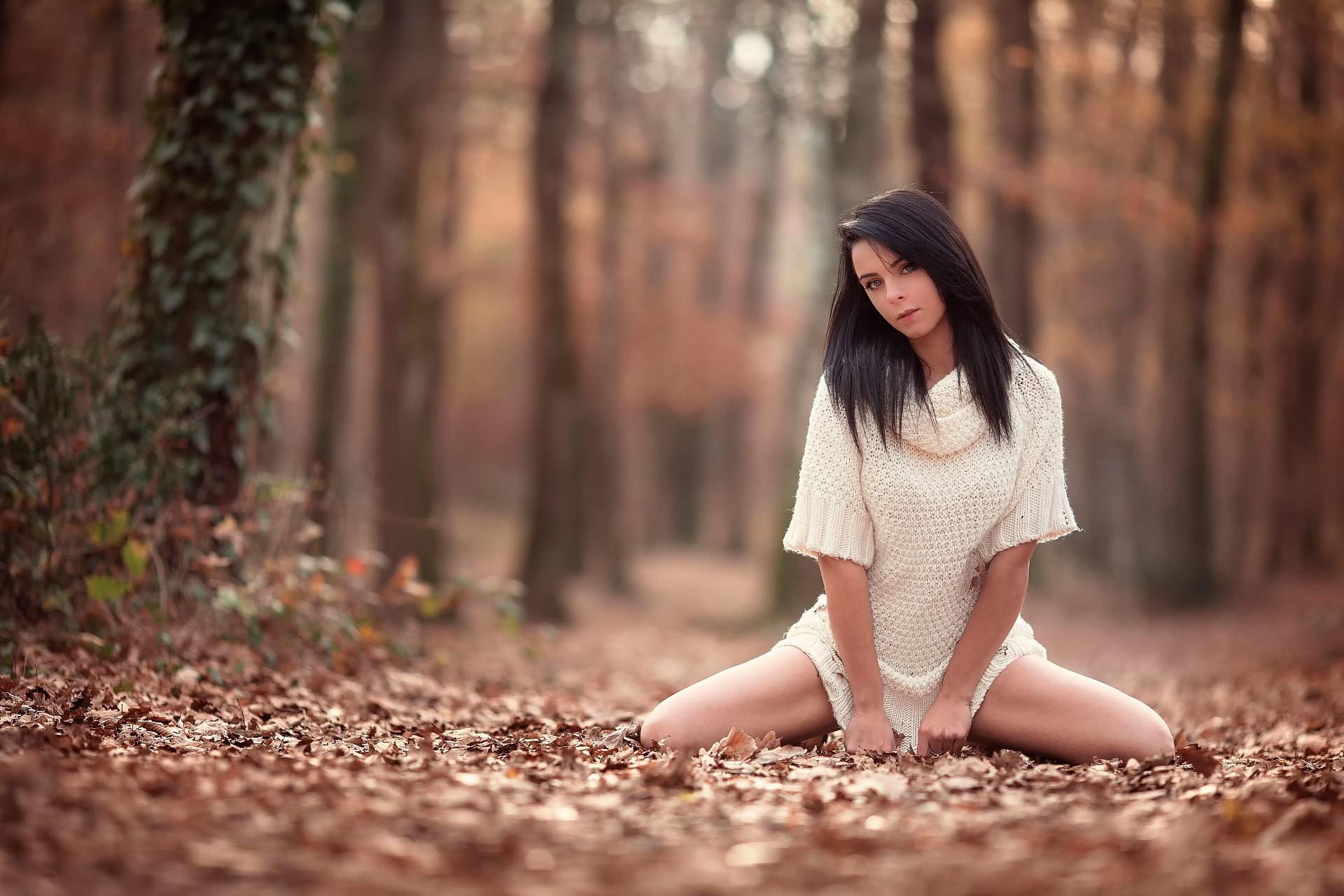 People 1920x1280 women brunette Laurent Kacé white dress women outdoors spread legs looking at viewer squatting