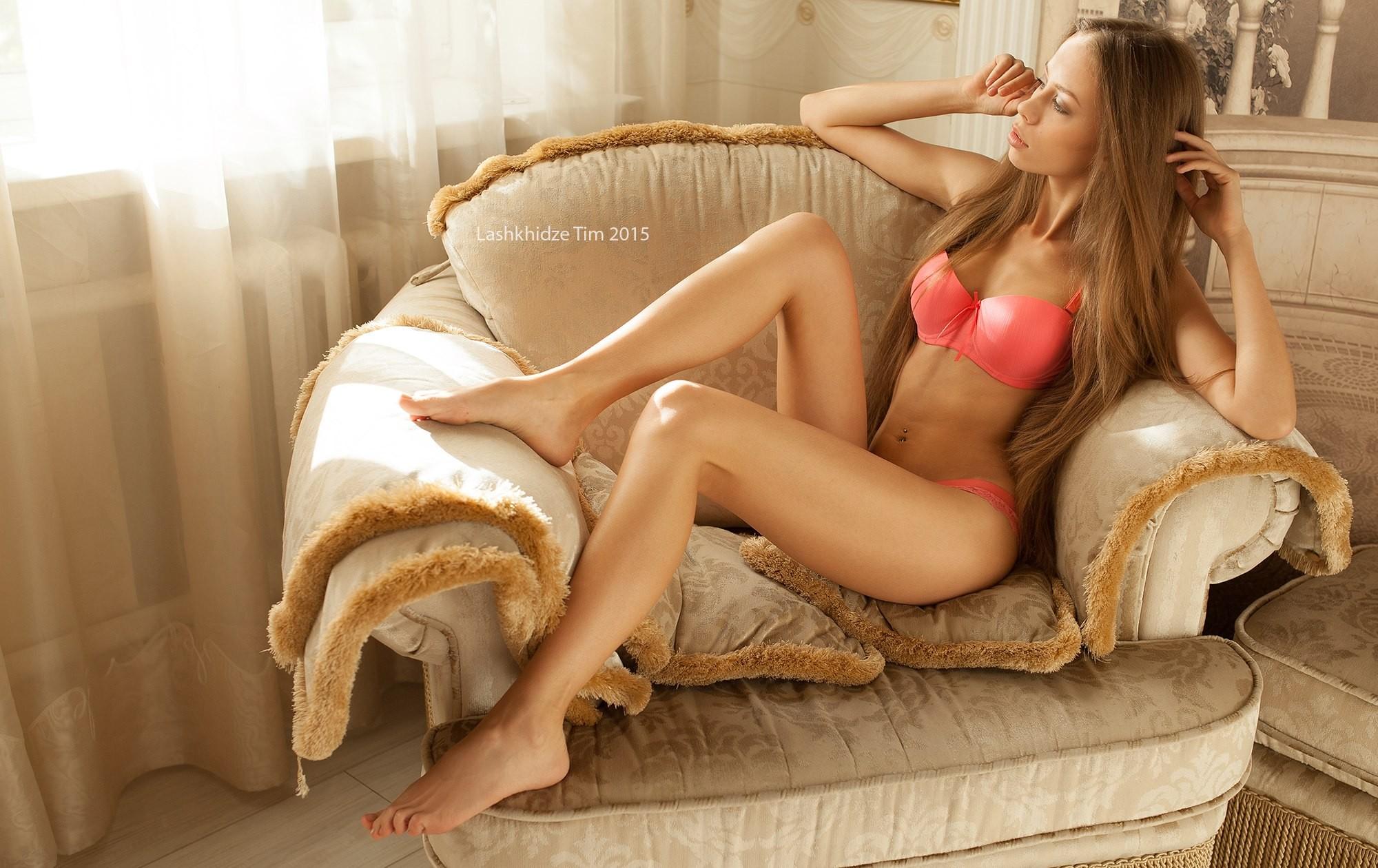 People 2000x1260 women sitting pierced navel blonde lingerie looking away Tim Lashkhidze