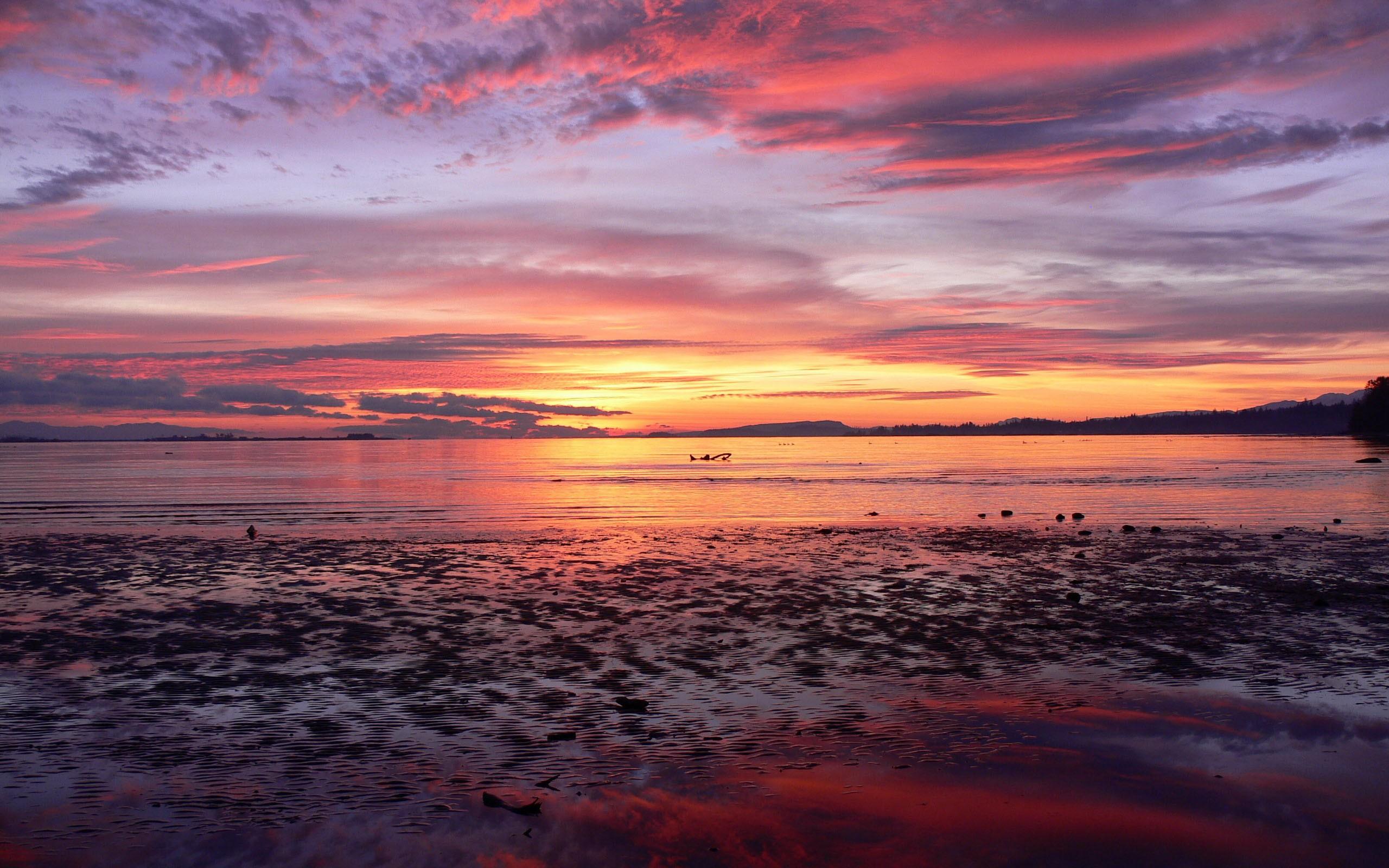 General 2560x1600 landscape nature beach lake sunset purple sky