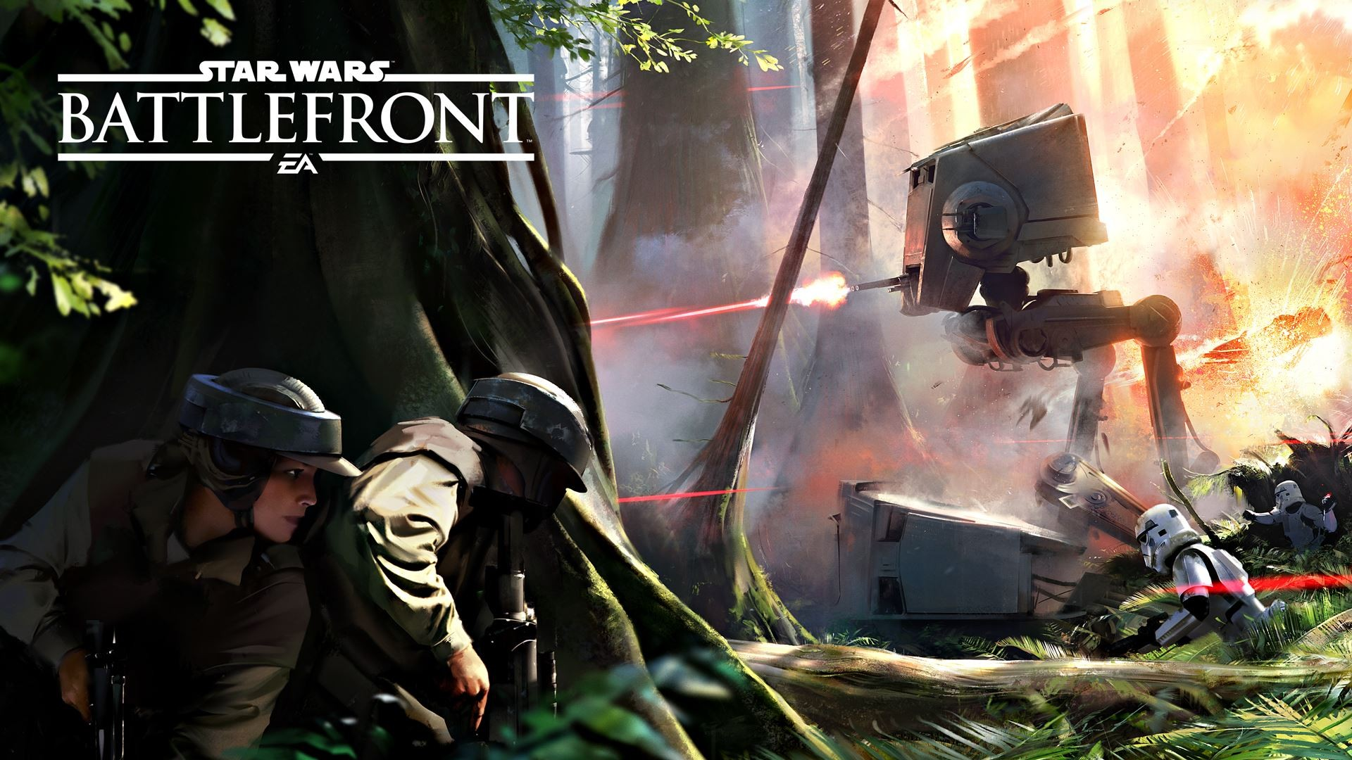 General 1920x1080 Star Wars Star Wars: Battlefront Endor AT-ST Battle of Endor Rebel Alliance stormtrooper AT-ST Walker Storm Troopers Imperial Stormtrooper