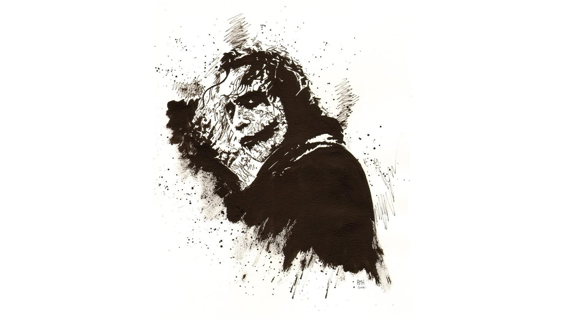 General 1920x1080 Joker Batman Heath Ledger The Dark Knight white background