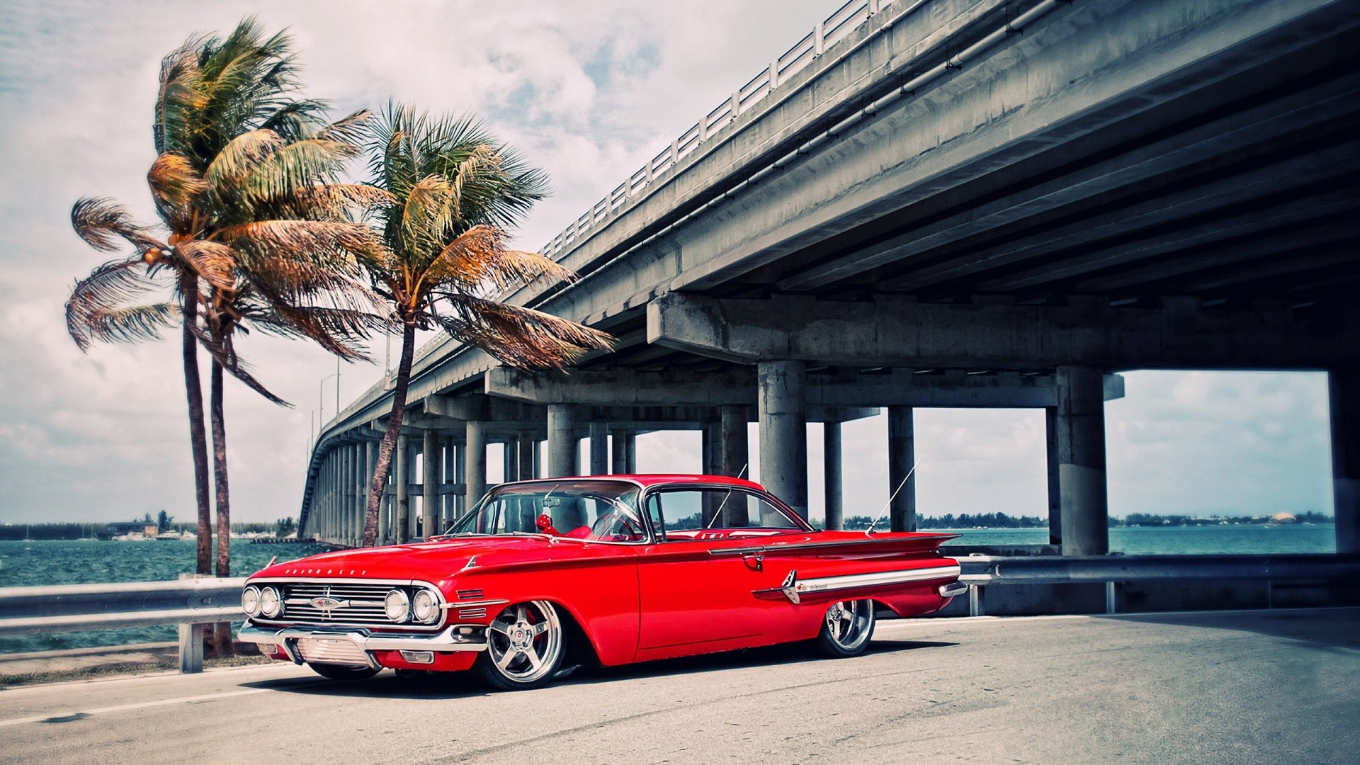 General 1920x1080 car red cars palm trees bridge wind Oldtimer vehicle