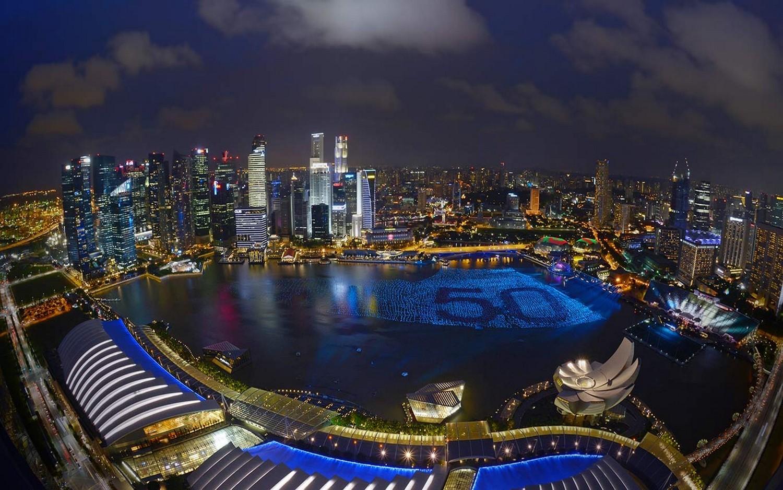 General 1500x938 landscape cityscape architecture modern Singapore skyscraper urban night clouds lights bay