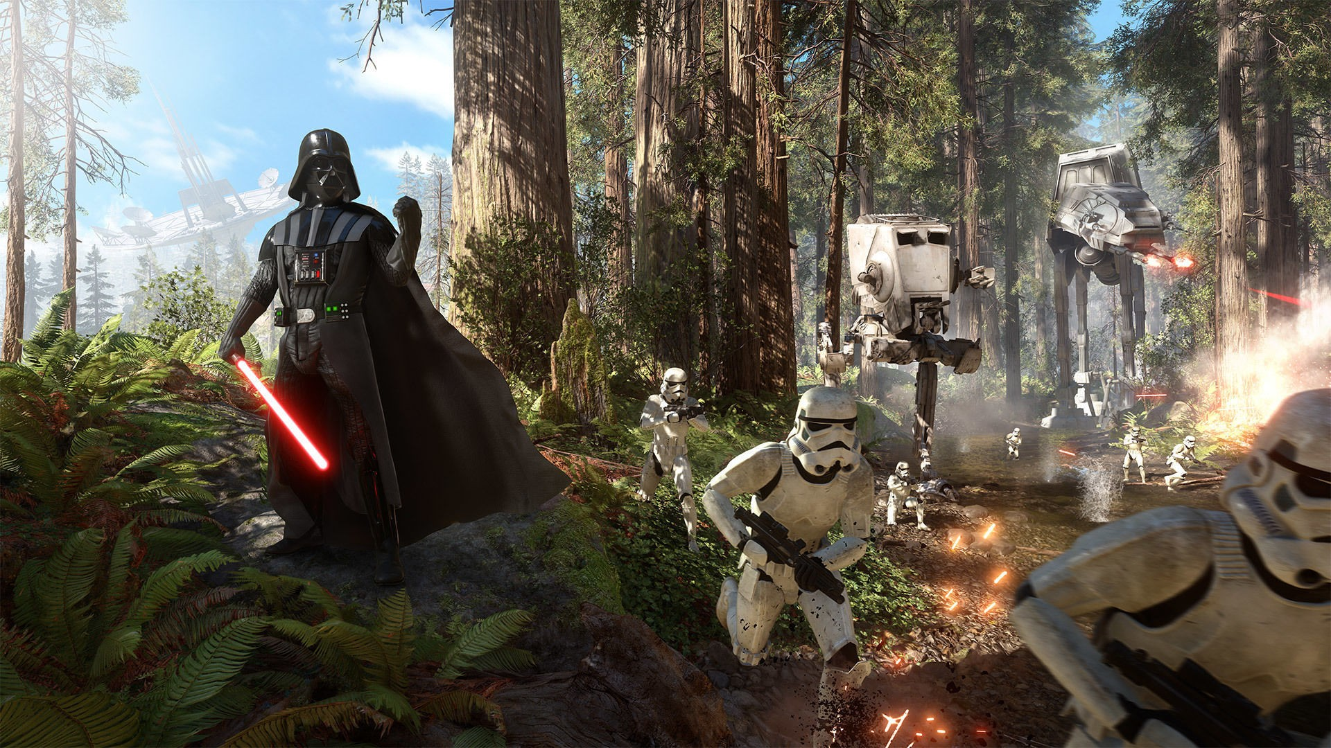 General 1920x1080 Star Wars Star Wars: Battlefront Darth Vader stormtrooper Galactic Empire video games EA DICE AT-ST AT-AT forest Endor