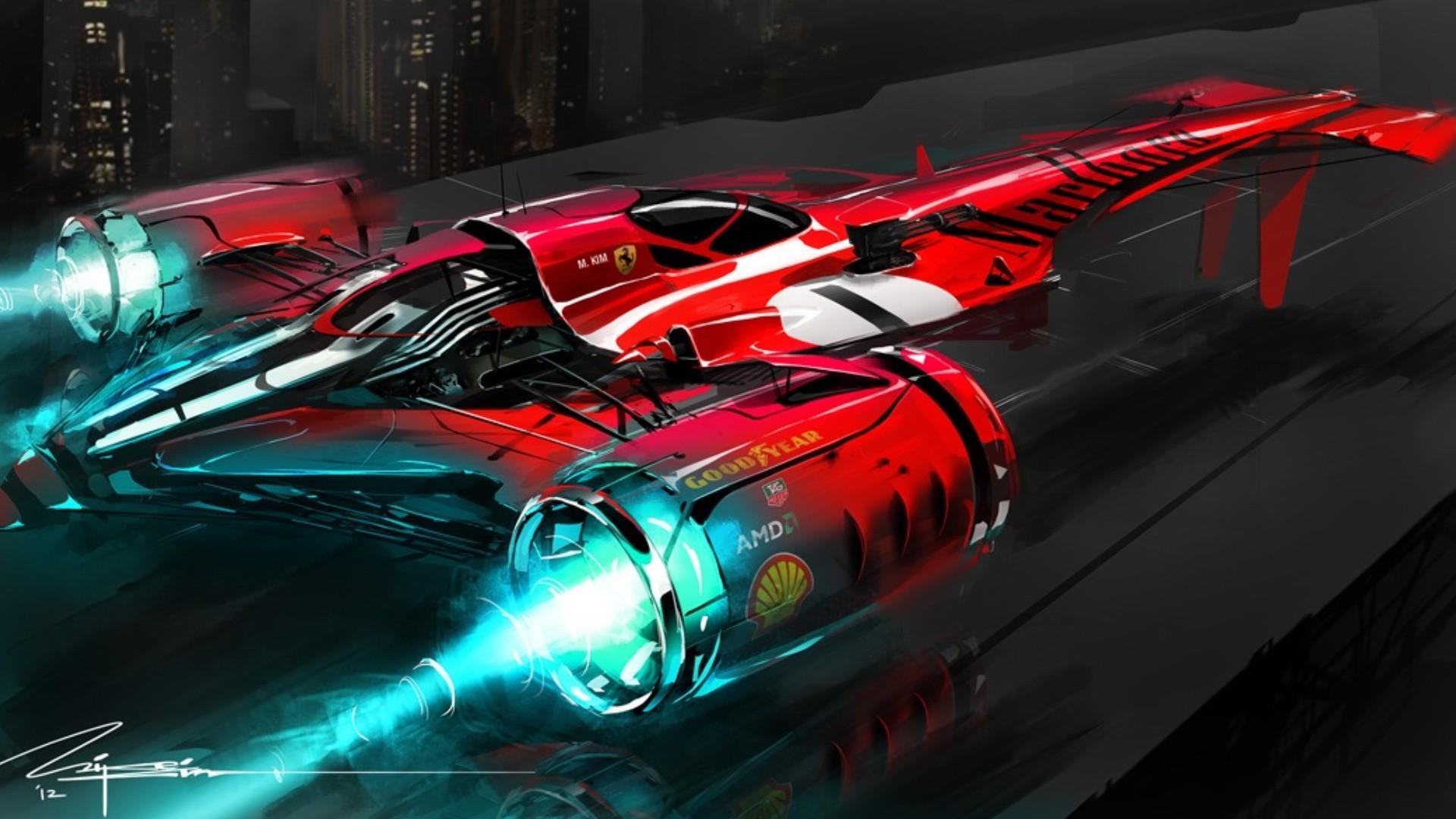 General 1920x1080 fantasy art Ferrari science fiction vehicle futuristic artwork cyan