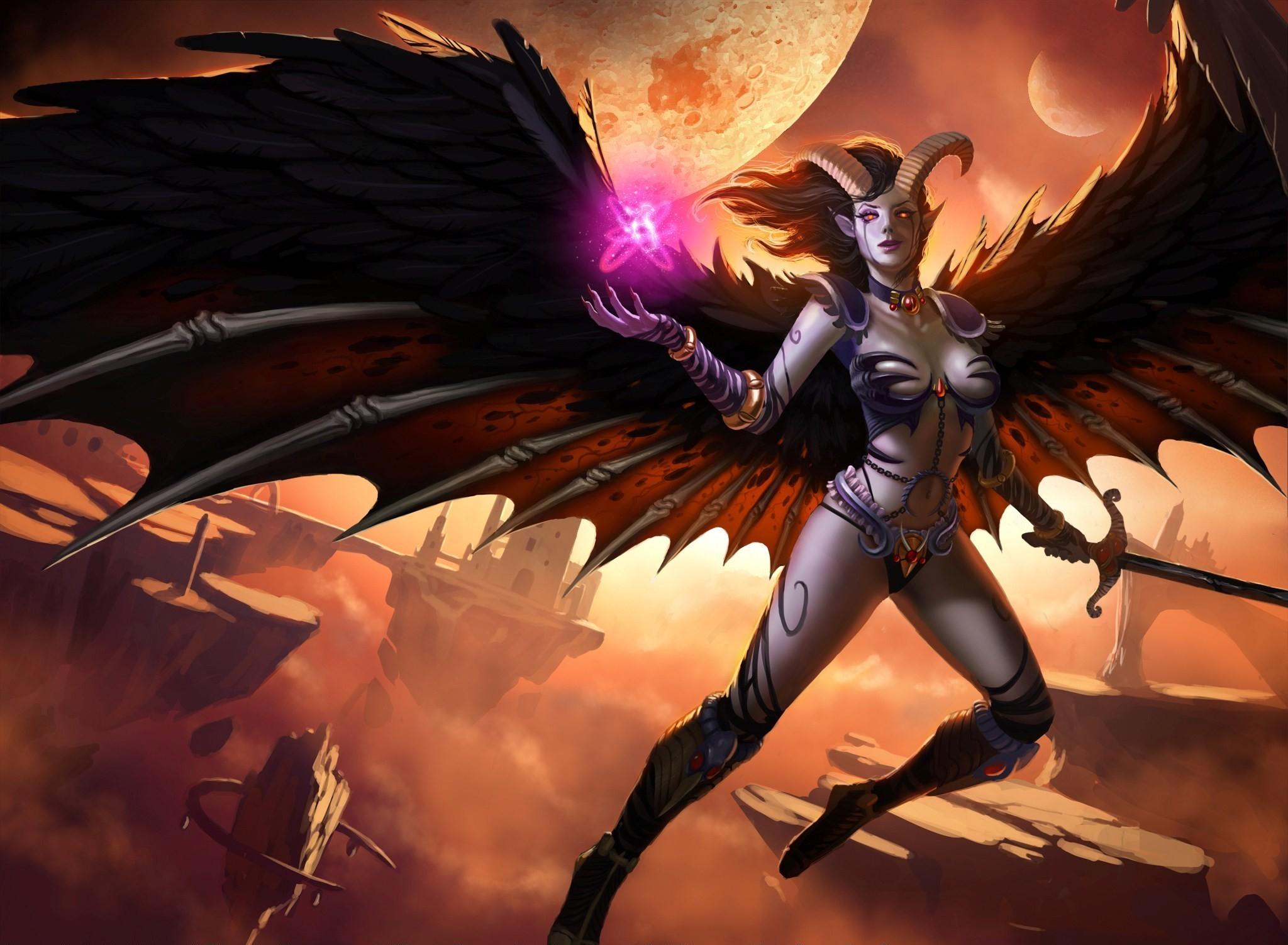 General 2048x1503 realistic devils wings fantasy art succubus Queen of Pain magic demon girls video game art video game girls Dota 2 horns legs boobs fantasy girl