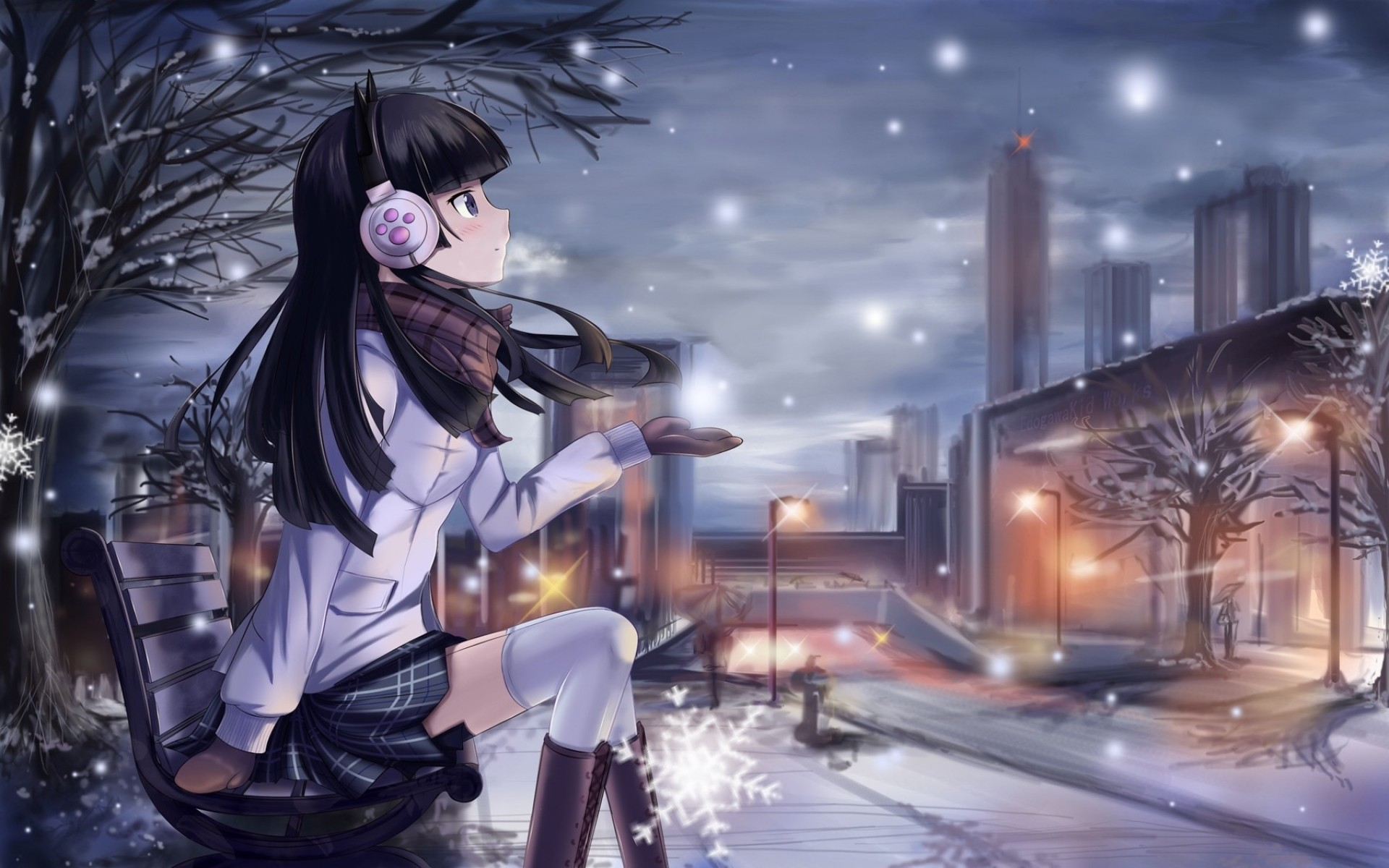 Anime 1920x1200 city headphones anime anime girls snow winter skirt schoolgirl Ore no Imouto ga Konnani Kawaii Wake ga Nai Gokou Ruri manga night bench sitting dark hair snow flakes