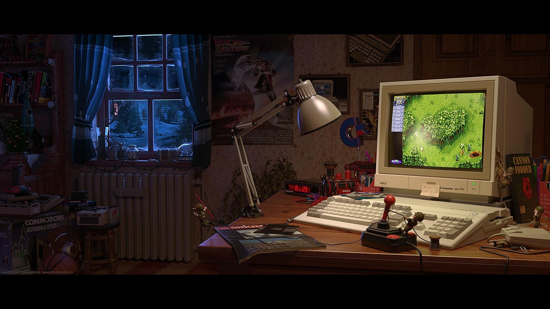 General 1920x1080 digital art Toni Bratincevic video games 3D nostalgia ArtStation Amiga computer joystick monitor room indoors technology vintage interior